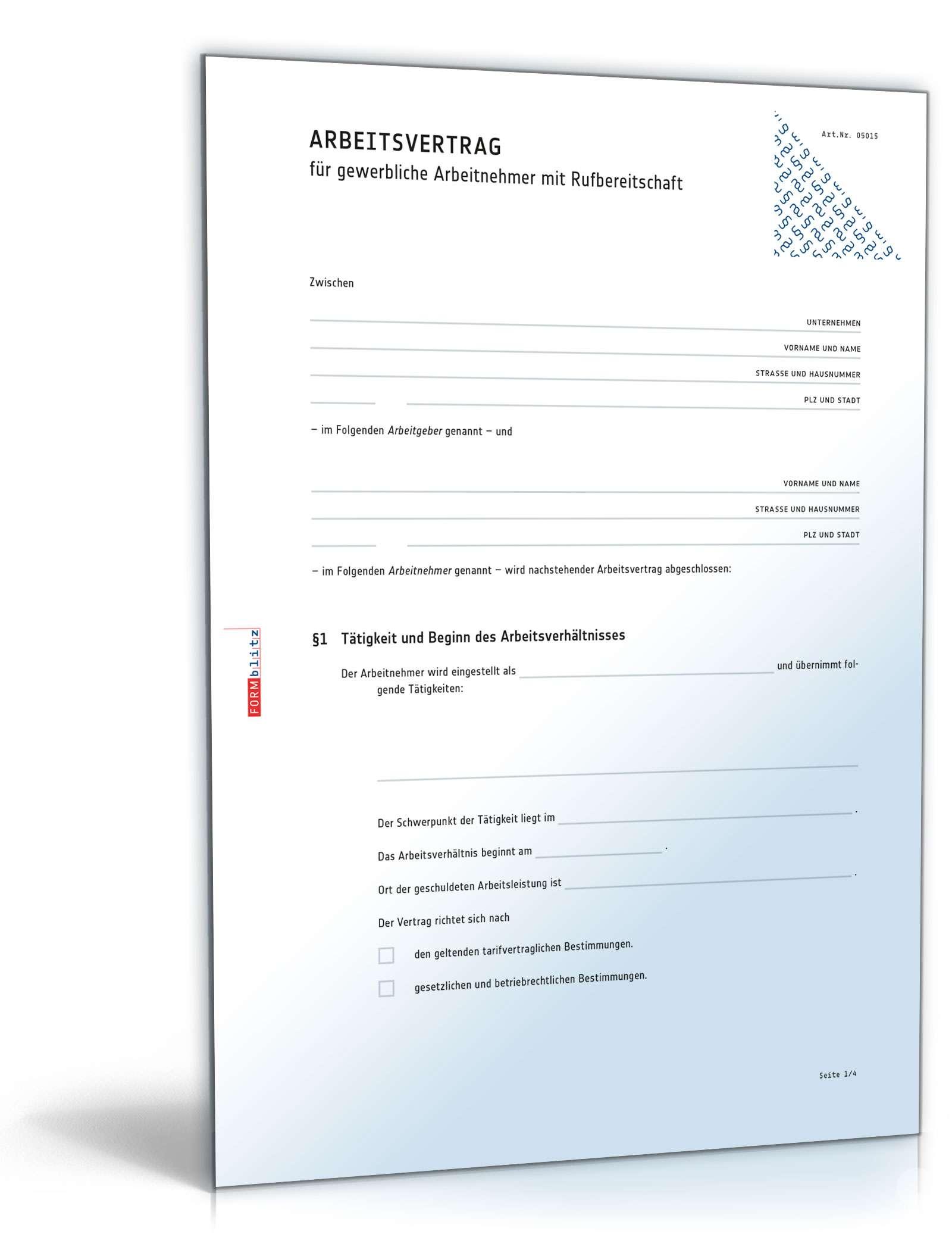 Arbeitsvertrag Rufbereitschaft Muster Zum Download