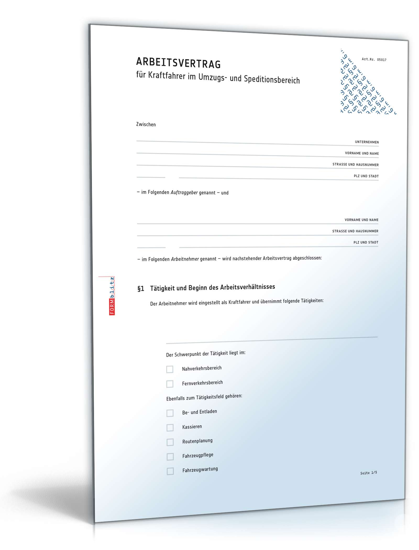 Arbeitsvertrag Kraftfahrer Muster Zum Download