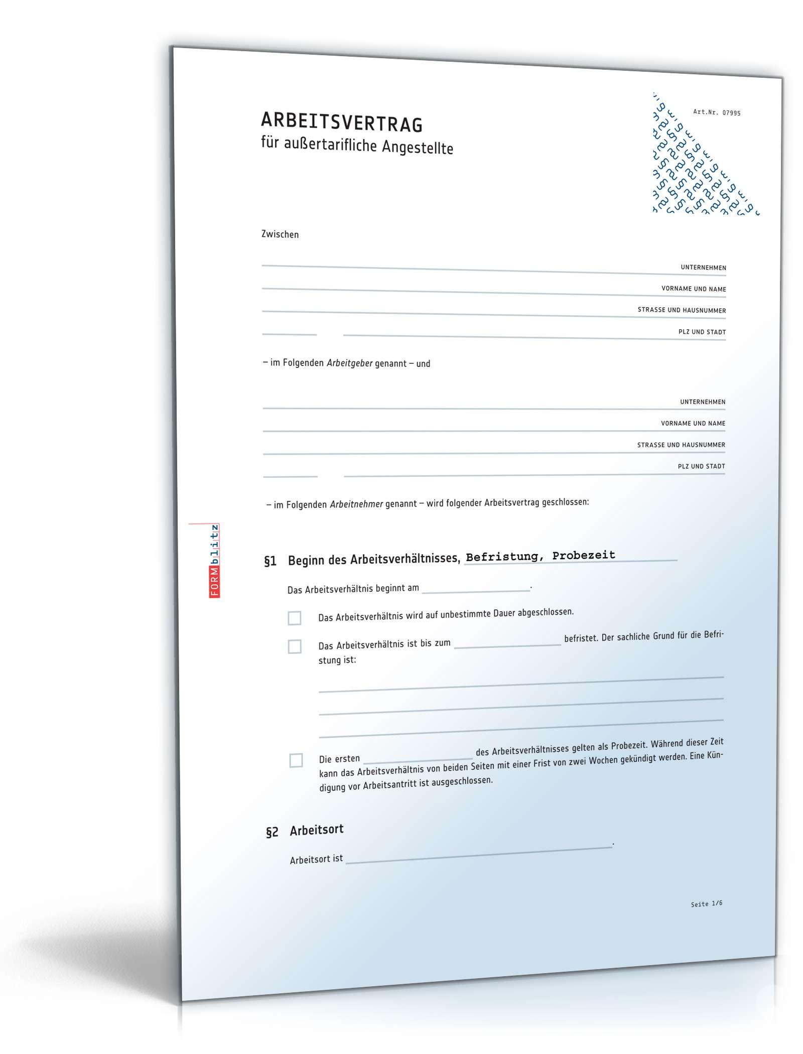 Arbeitsvertrag außertariflich Angestellte: Muster zum Download