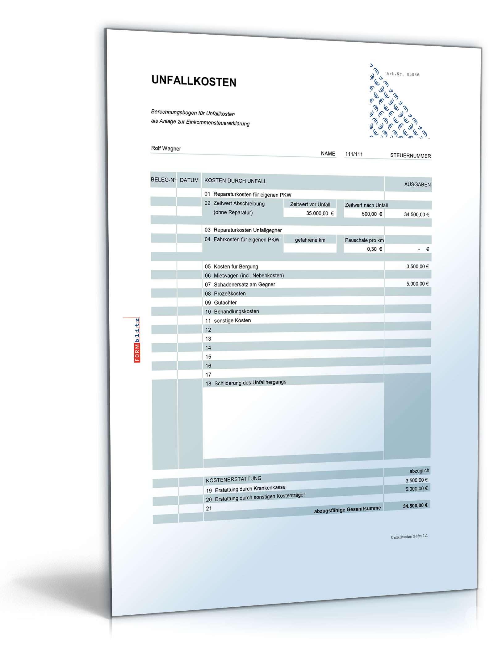 Rechentabelle Werbungskosten Unfallkosten Vorlage Zum Download