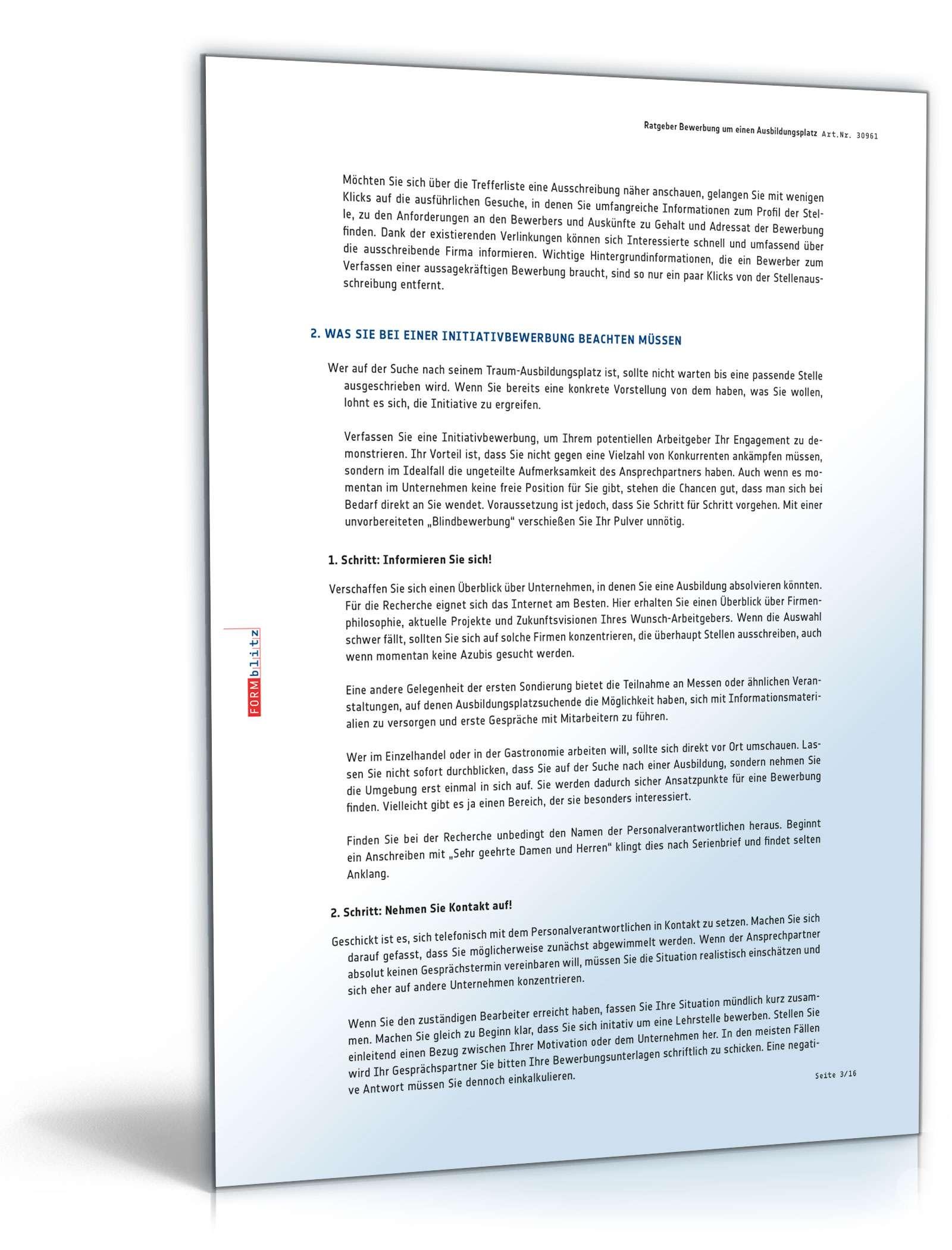 Bewerbung Ausbildung zum Optiker: Muster kostenlos zum Download