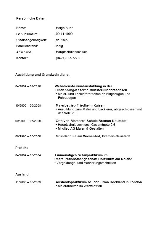 Berühmt Hausmaler Lebenslauf Probe Ideen - Entry Level Resume ...