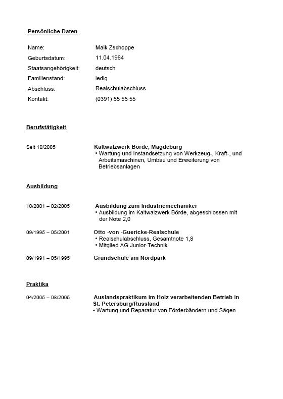 Bewerbung Muster Industriemechaniker
