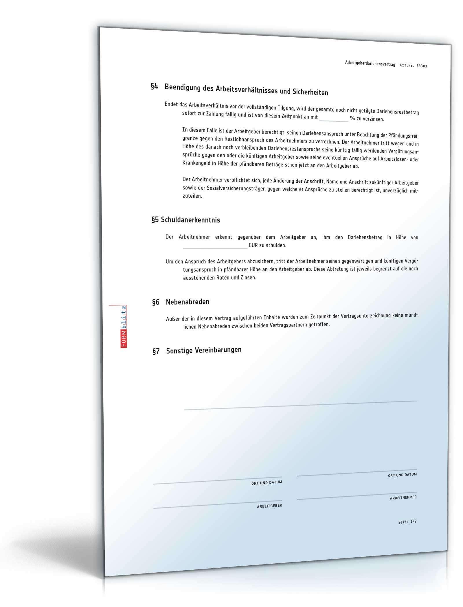 Arbeitgeberdarlehensvertrag Mit Schuldanerkenntnis Muster Zum Download