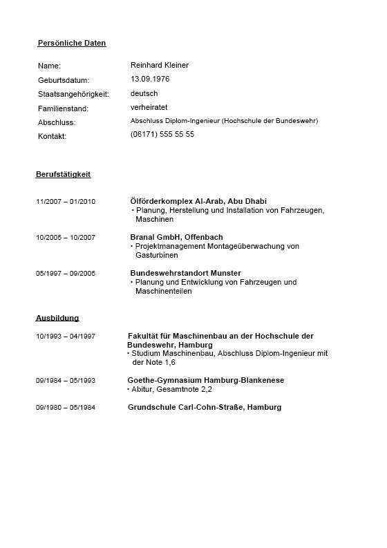 Fein Lebenslauf Format Für Erfahrene Maschinenbauingenieur Indien ...