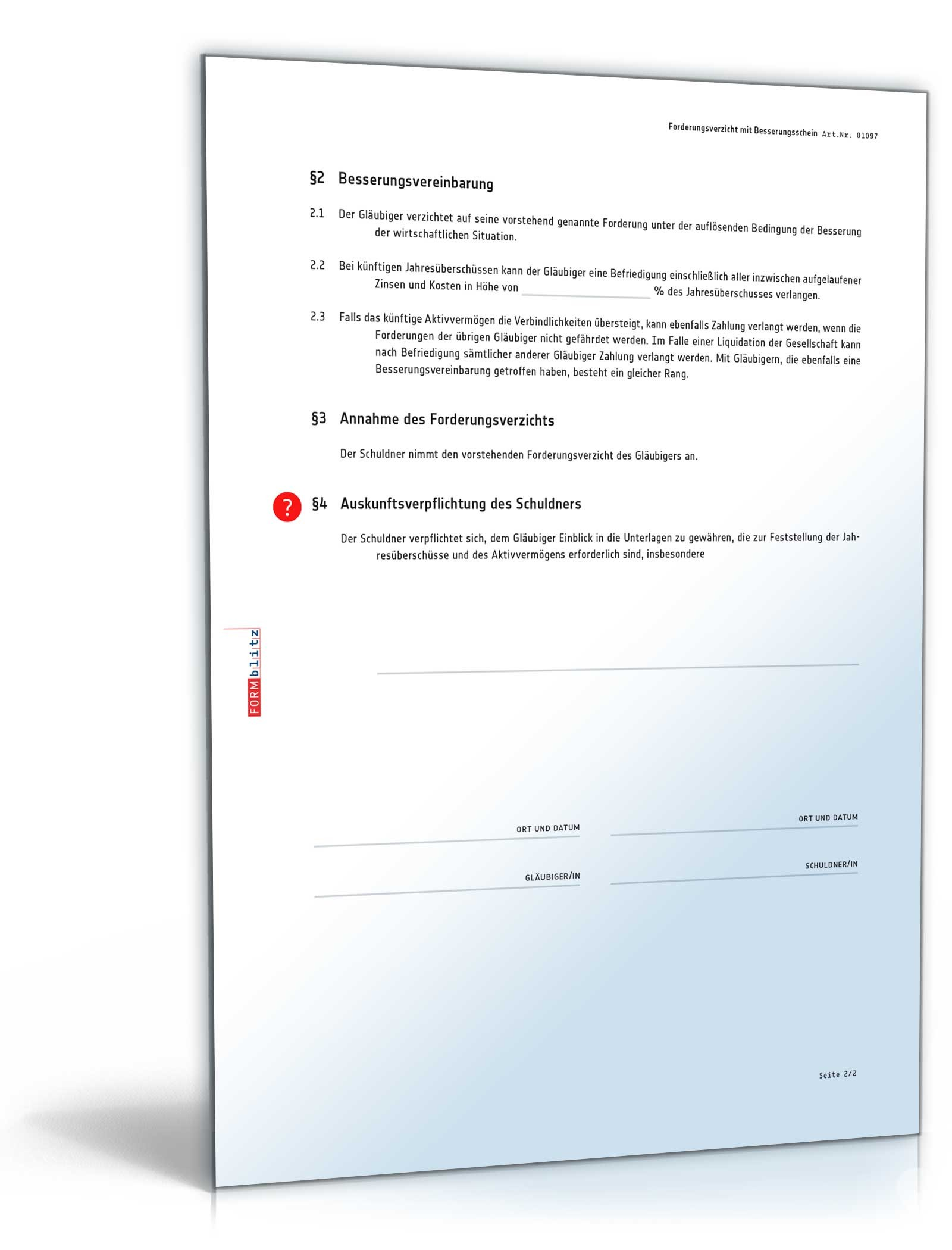 forderungsverzicht mit besserungsschein - Verzichtserklarung Muster