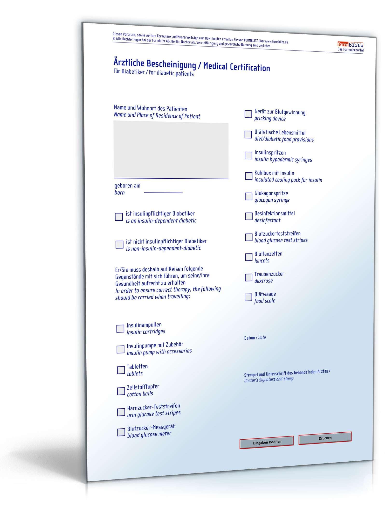 Reisebescheinigung Diabetiker | Formular zum Download