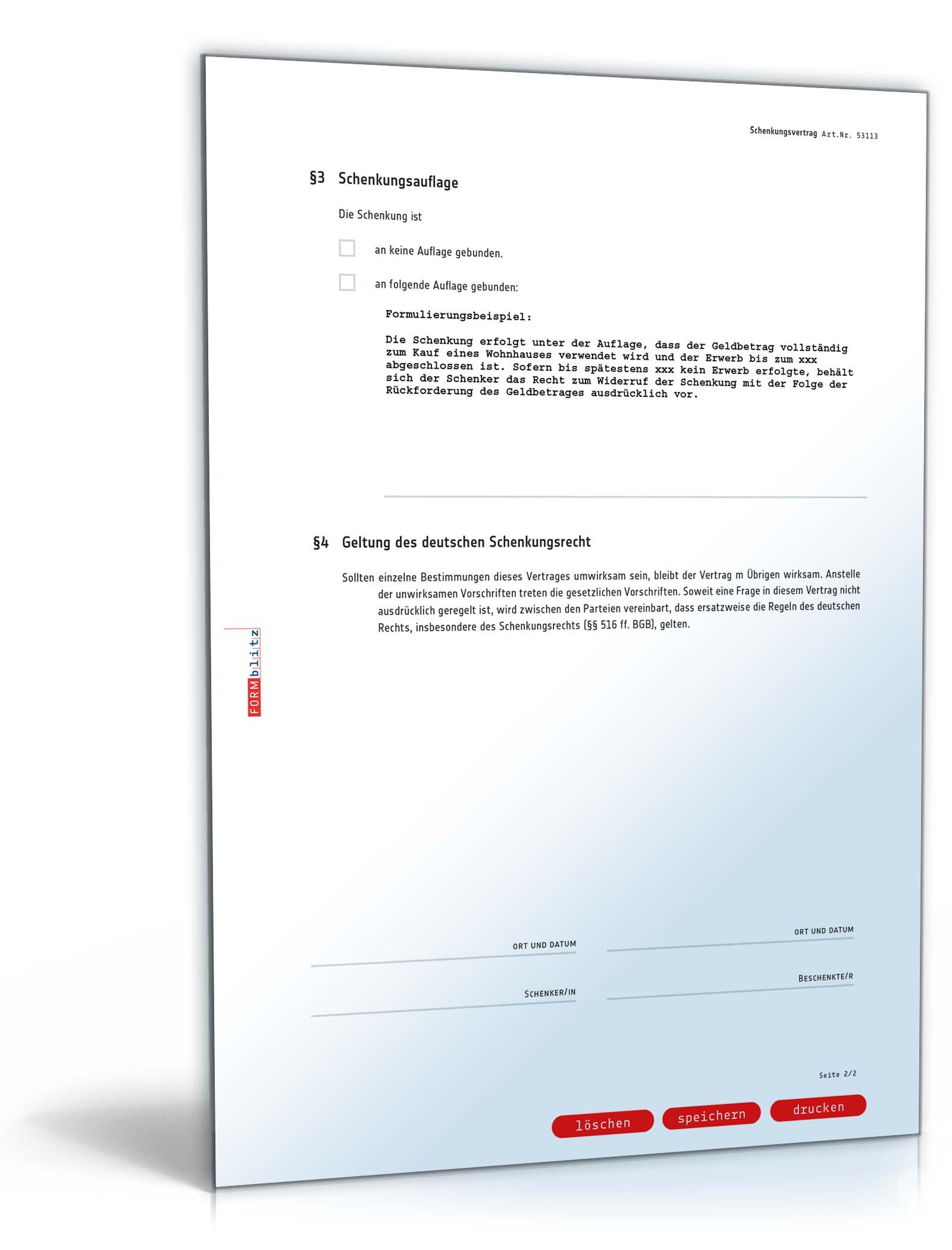 Schenkungsvertrag Geld Rechtssicheres Muster Zum Download
