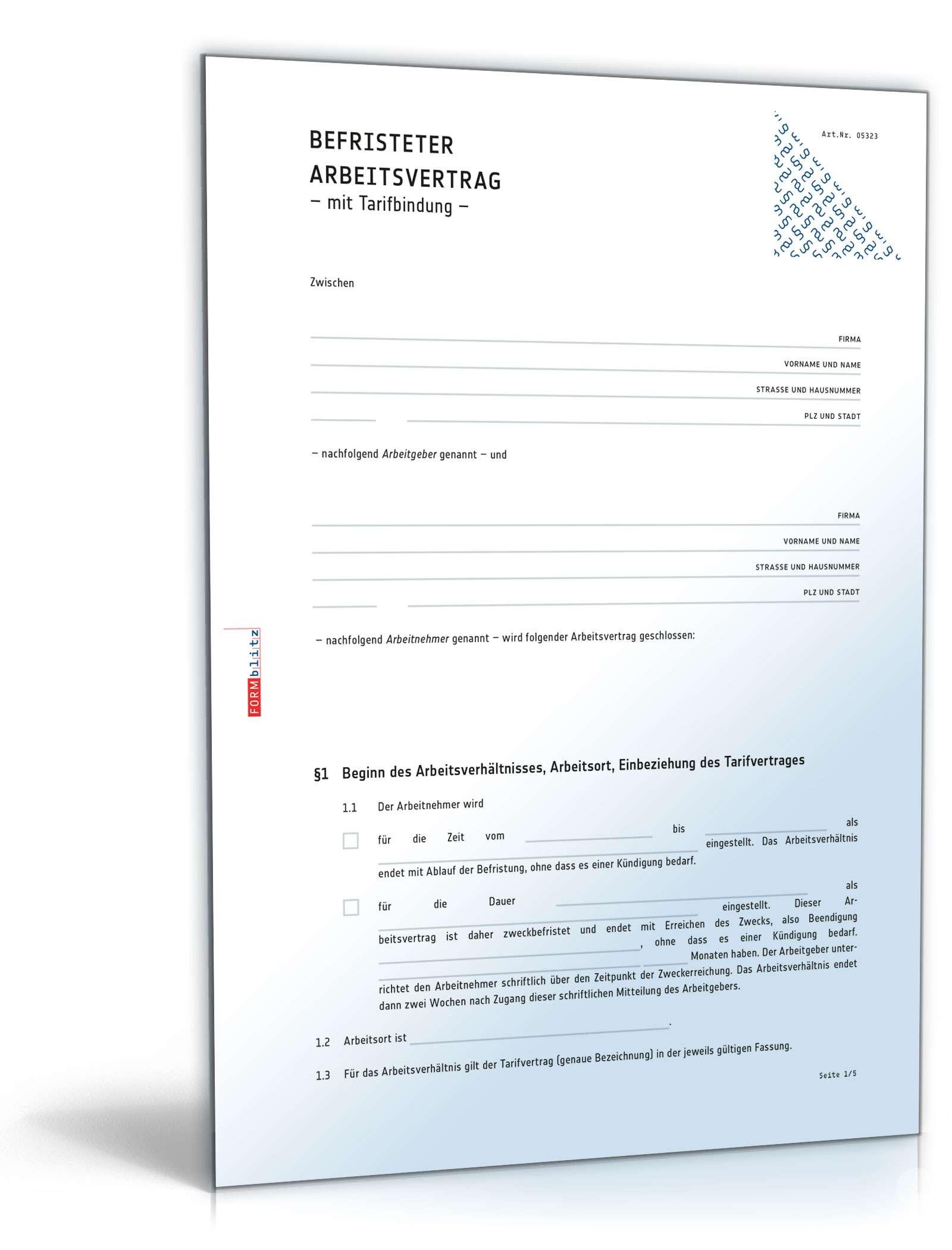 Befristeter Arbeitsvertrag Mit Tarifbindung Muster Zum Download