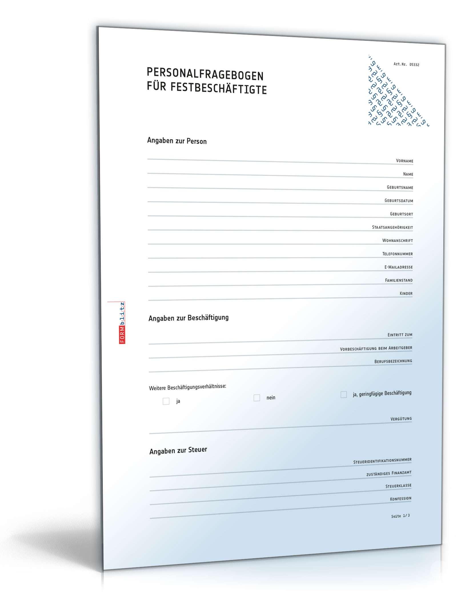 Personalbogen Pdf Kostenlos