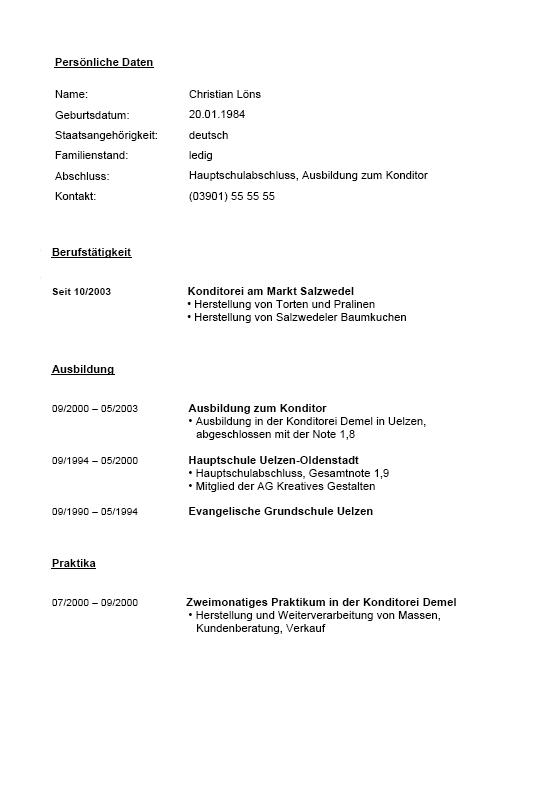 Bewerbungs-Paket Konditor | Muster zum Download