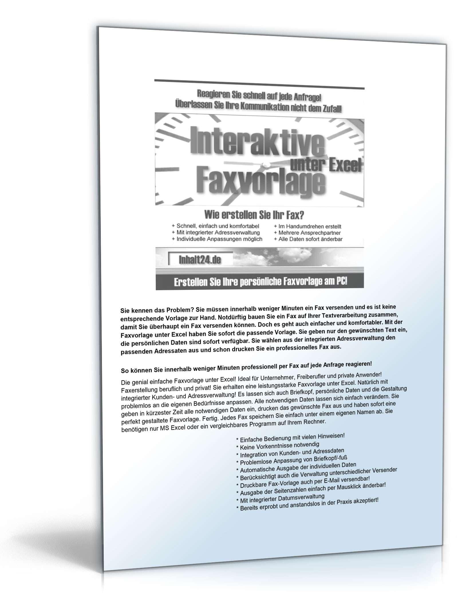 Faxvorlage unter Excel | Muster zum Download
