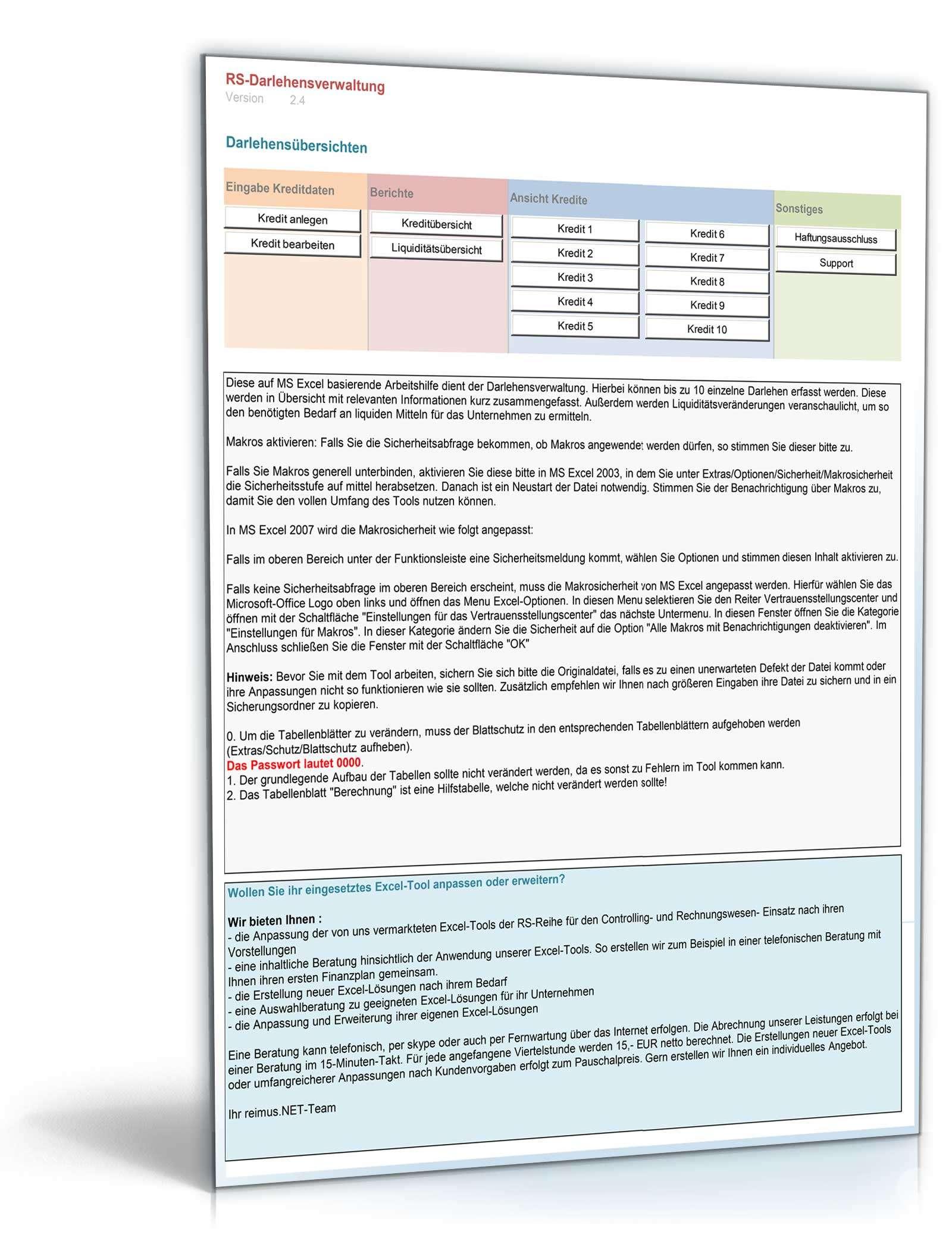 Darlehensverwaltung Vorlage Zum Download
