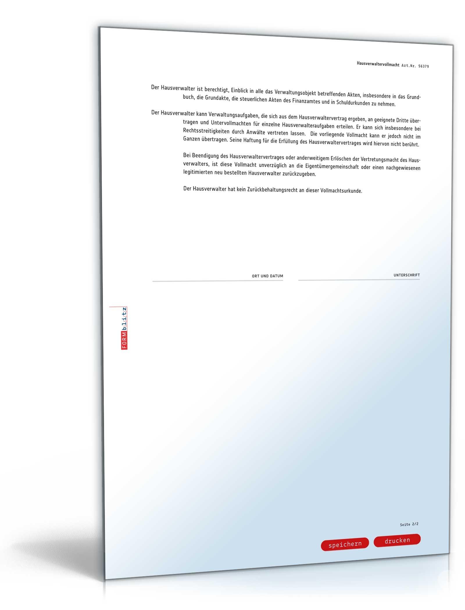 Hausverwaltervollmacht Rechtssicheres Muster Zum Download