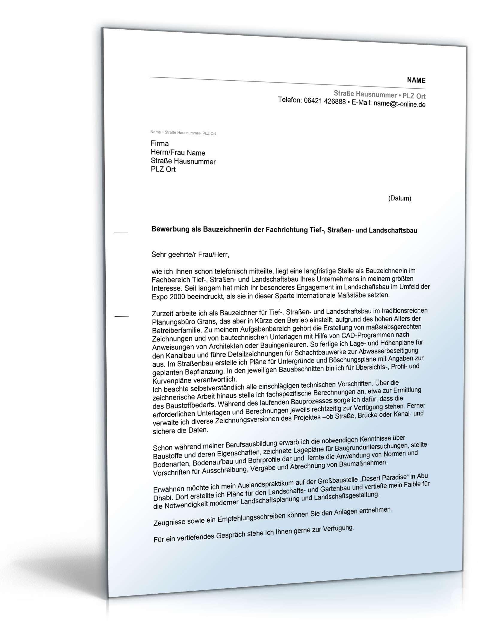 Bewerbungs-Paket Bauzeichner   Muster zum Download