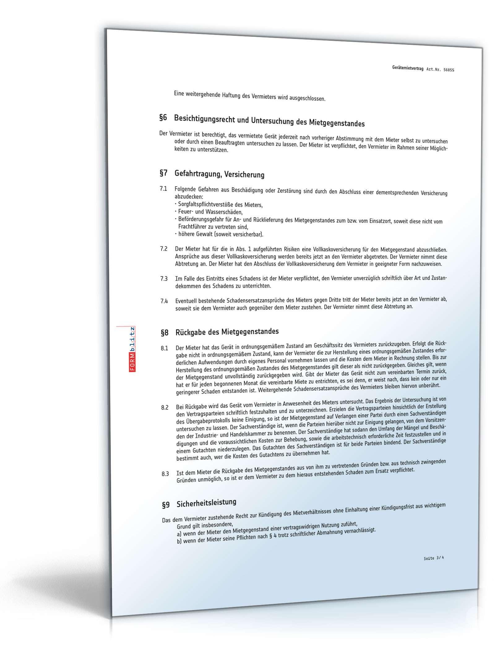 Gerätemietvertrag: Rechtssicheres Muster als PDF & DOC