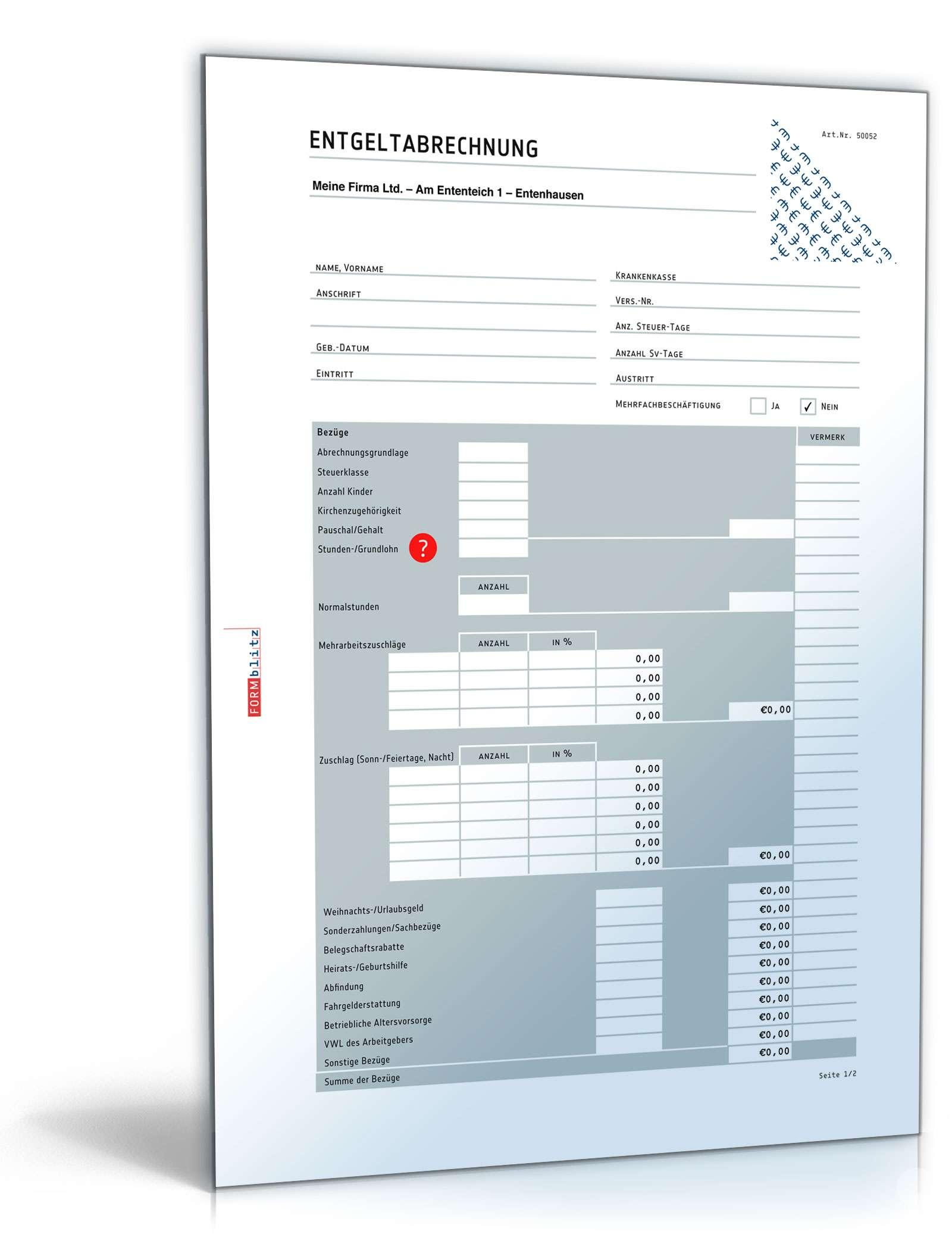 Lohn- und Gehaltsabrechnung 2016 | Muster zum Download