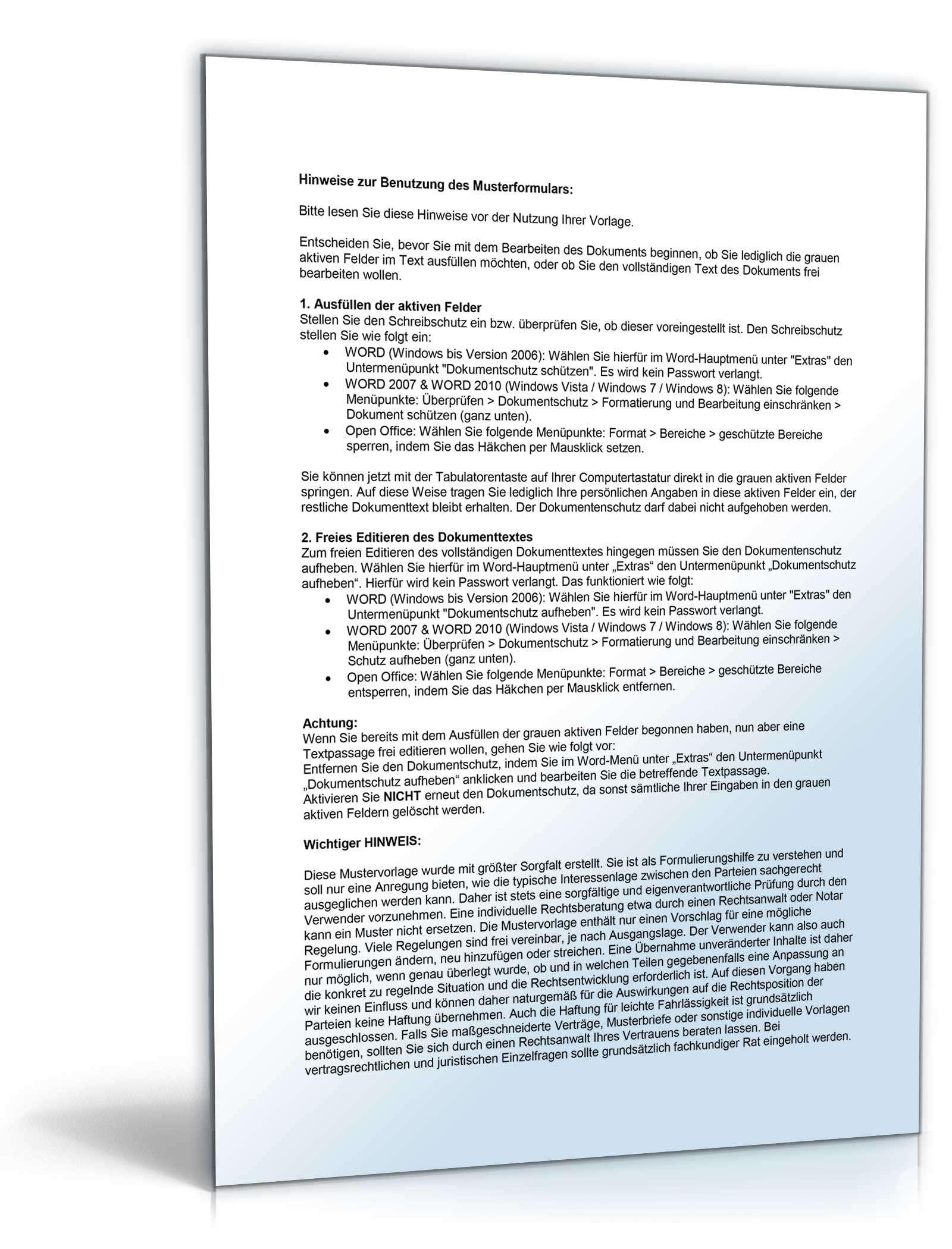 Auftrag Rechtliche Vertretung Muster Zum Download