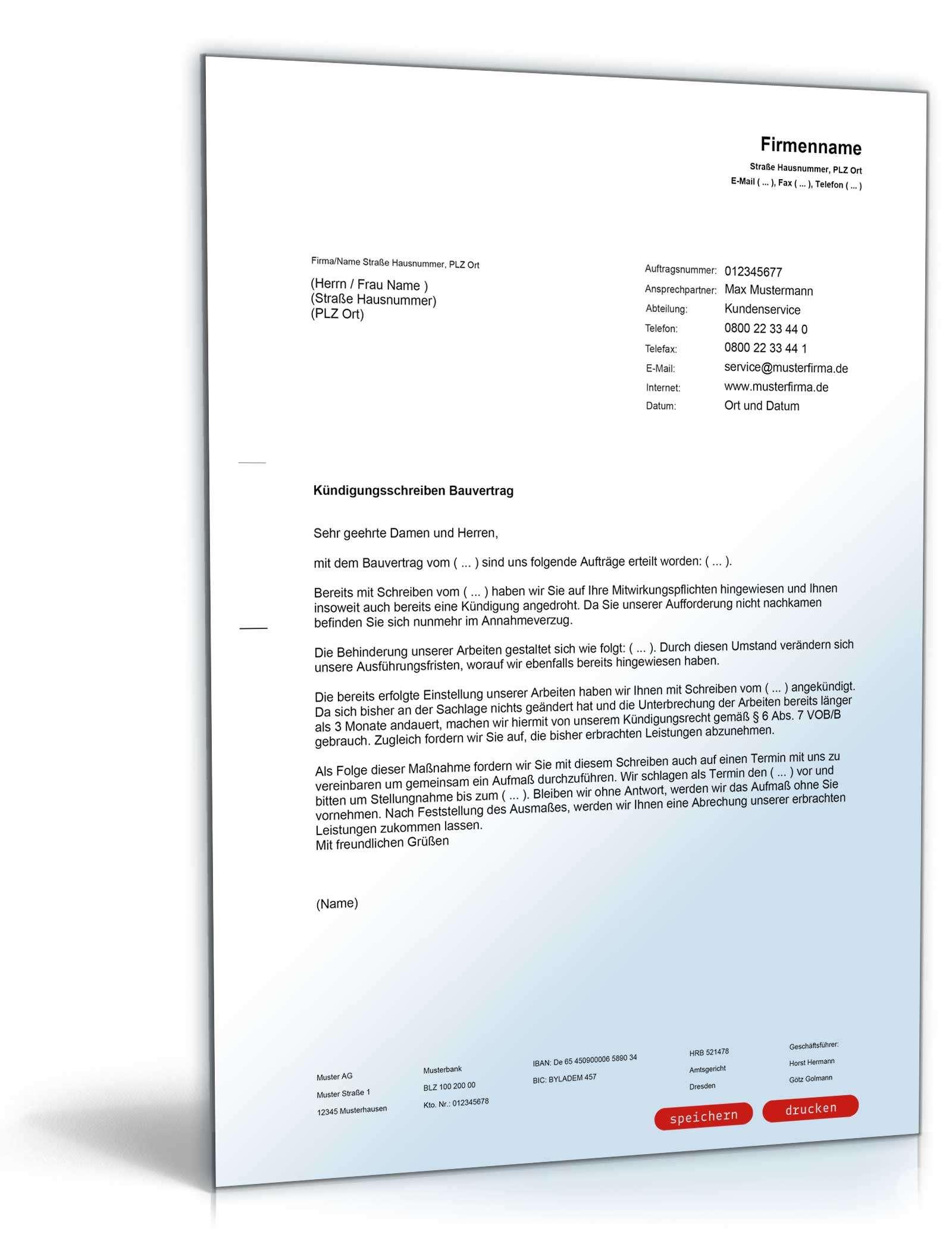 Kündigung Bauvertrag Muster Zum Download