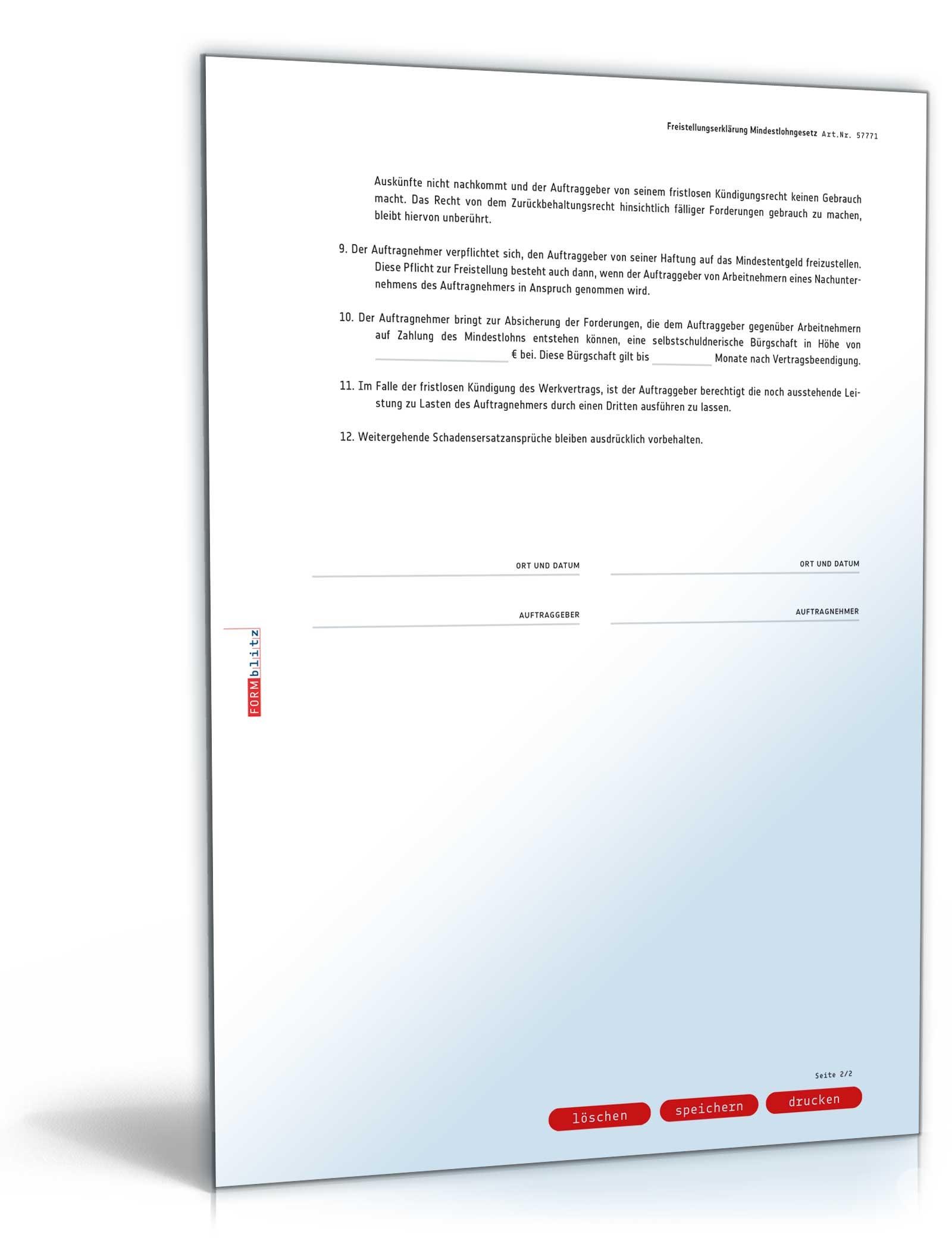 Freistellungserklärung Mindestlohngesetz | Muster zum Download