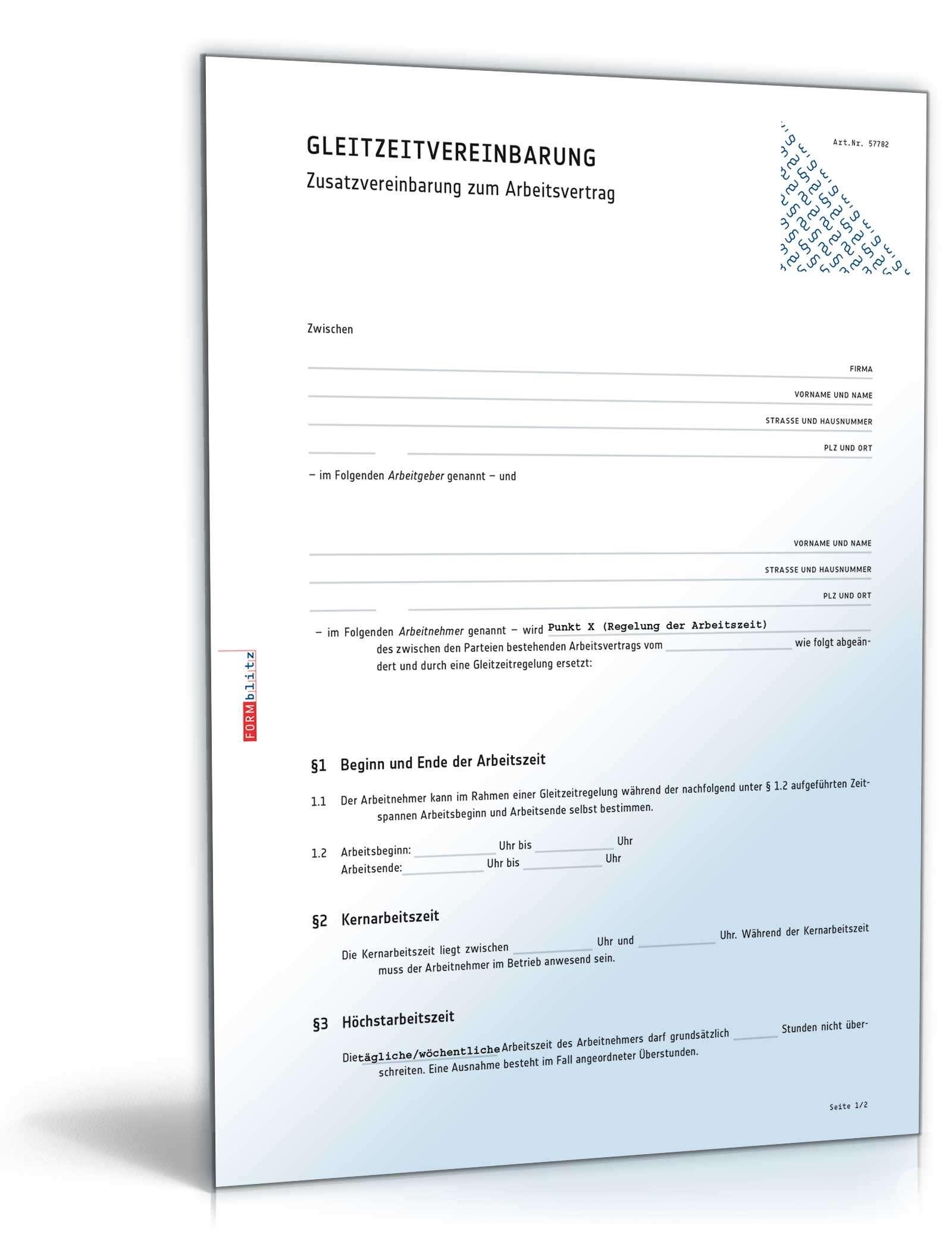 Zusatzvereinbarung Gleitzeit Vorlage Zum Download