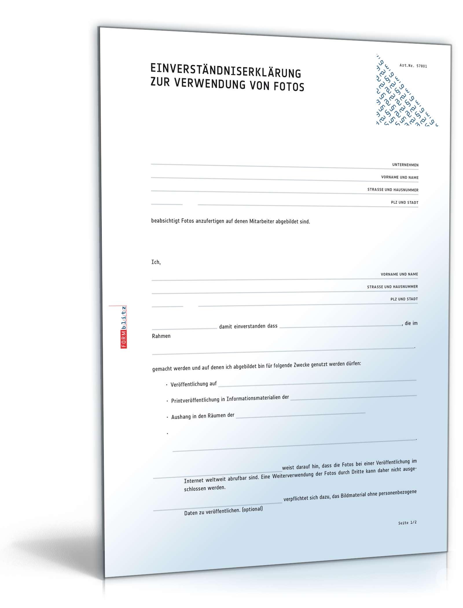 Einwilligung Verwendung Mitarbeiterfotos Muster Zum Download