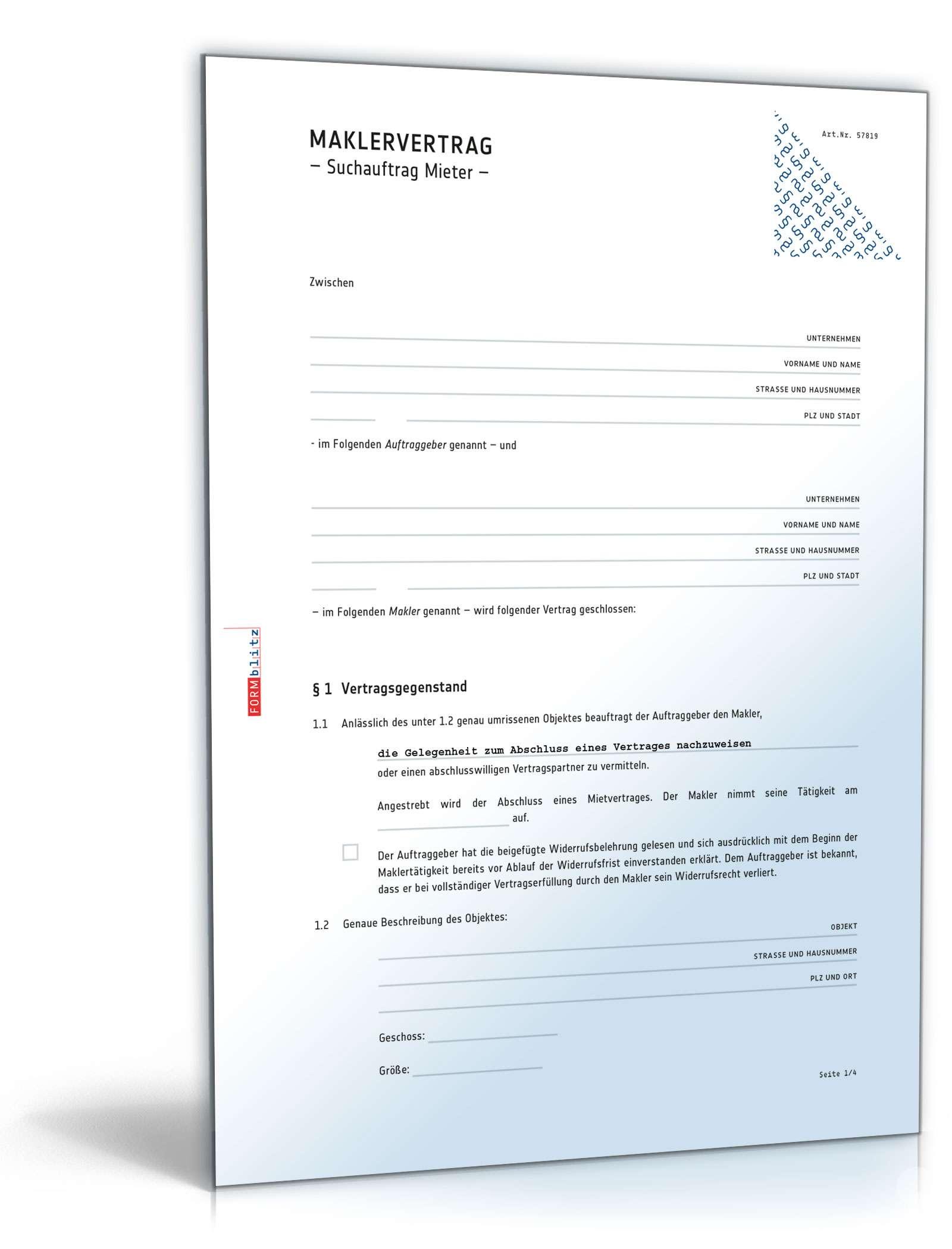 Maklervertrag Suchauftrag Mieter Muster Zum Download
