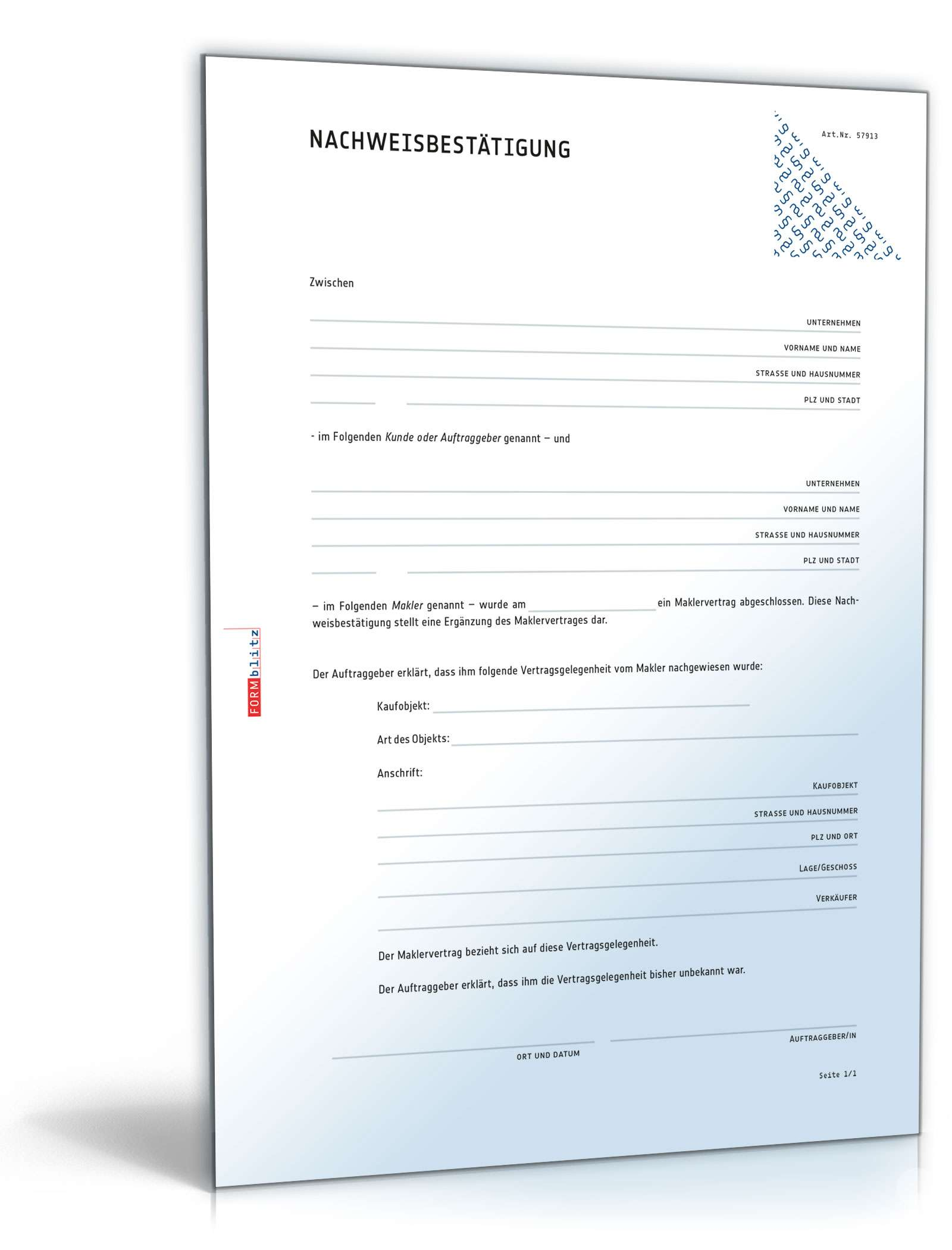 Nachweisbestätigung Makler Und Käufer Vorlage Zum Download