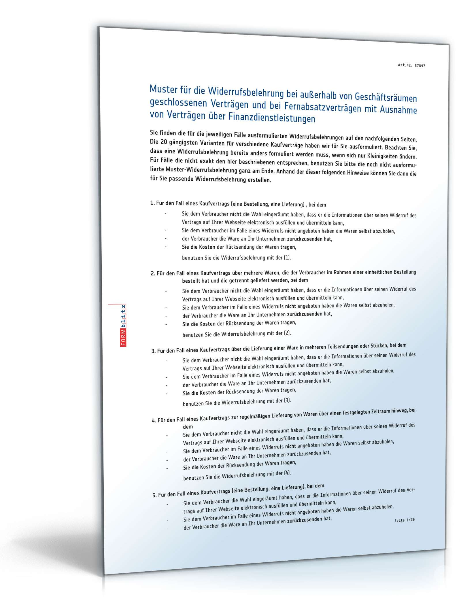 20 Widerrufsbelehrungen Bei Kaufvertragen Vorlagen Zum Download