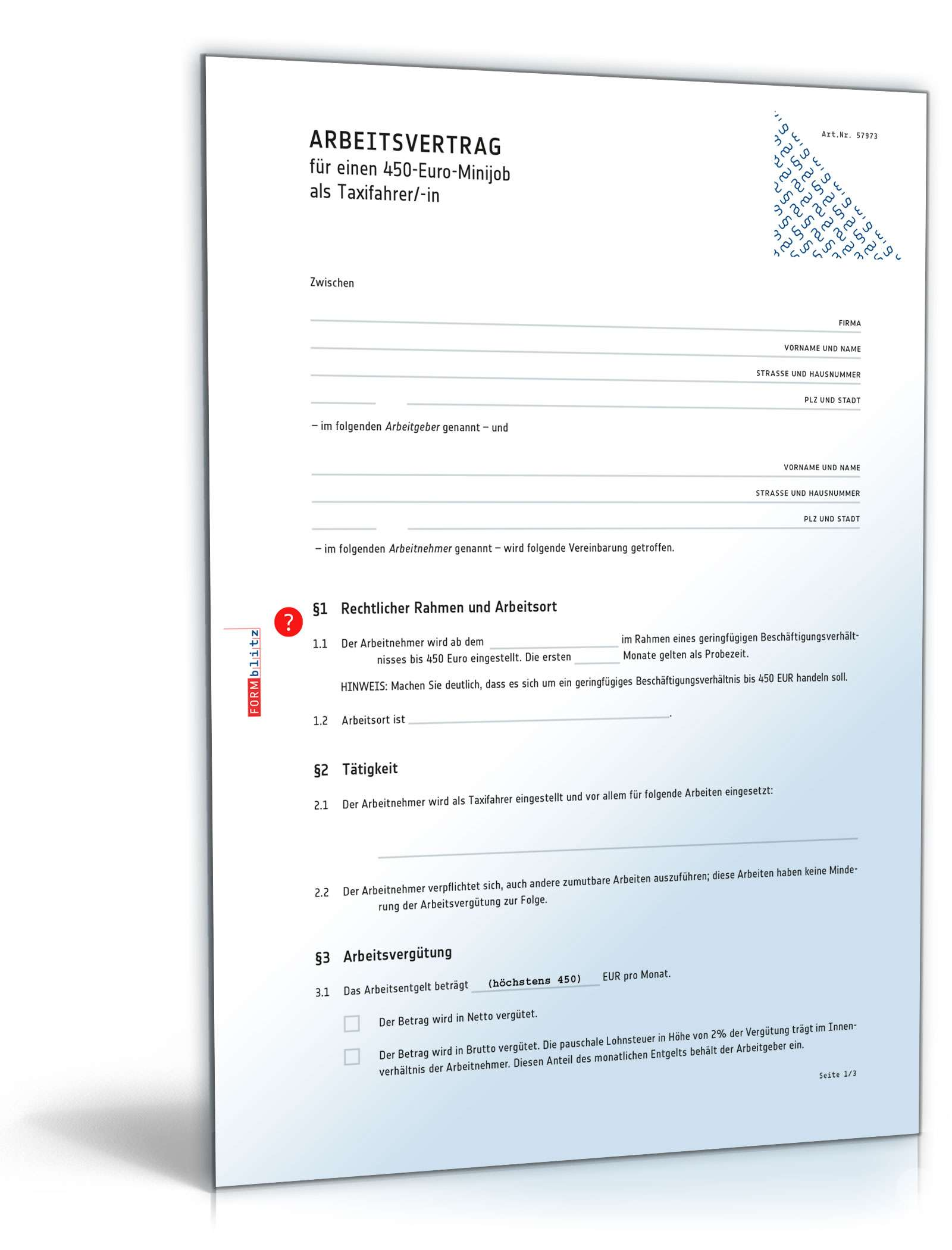 arbeitsvertrag minijob taxifahrer - Muster Arbeitsvertrag Geringfugige Beschaftigung