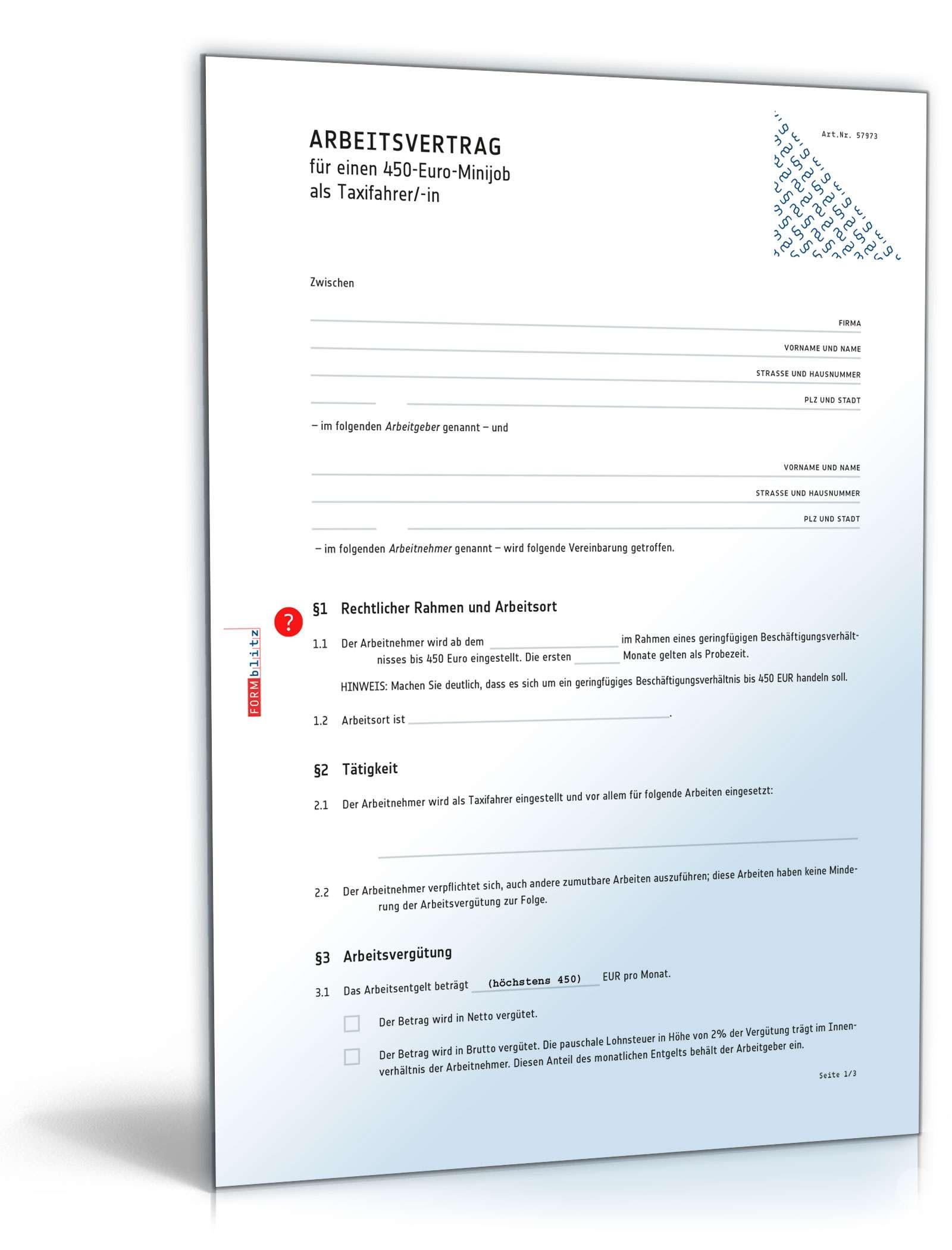 Arbeitsvertrag Minijob Taxifahrer Muster Zum Download
