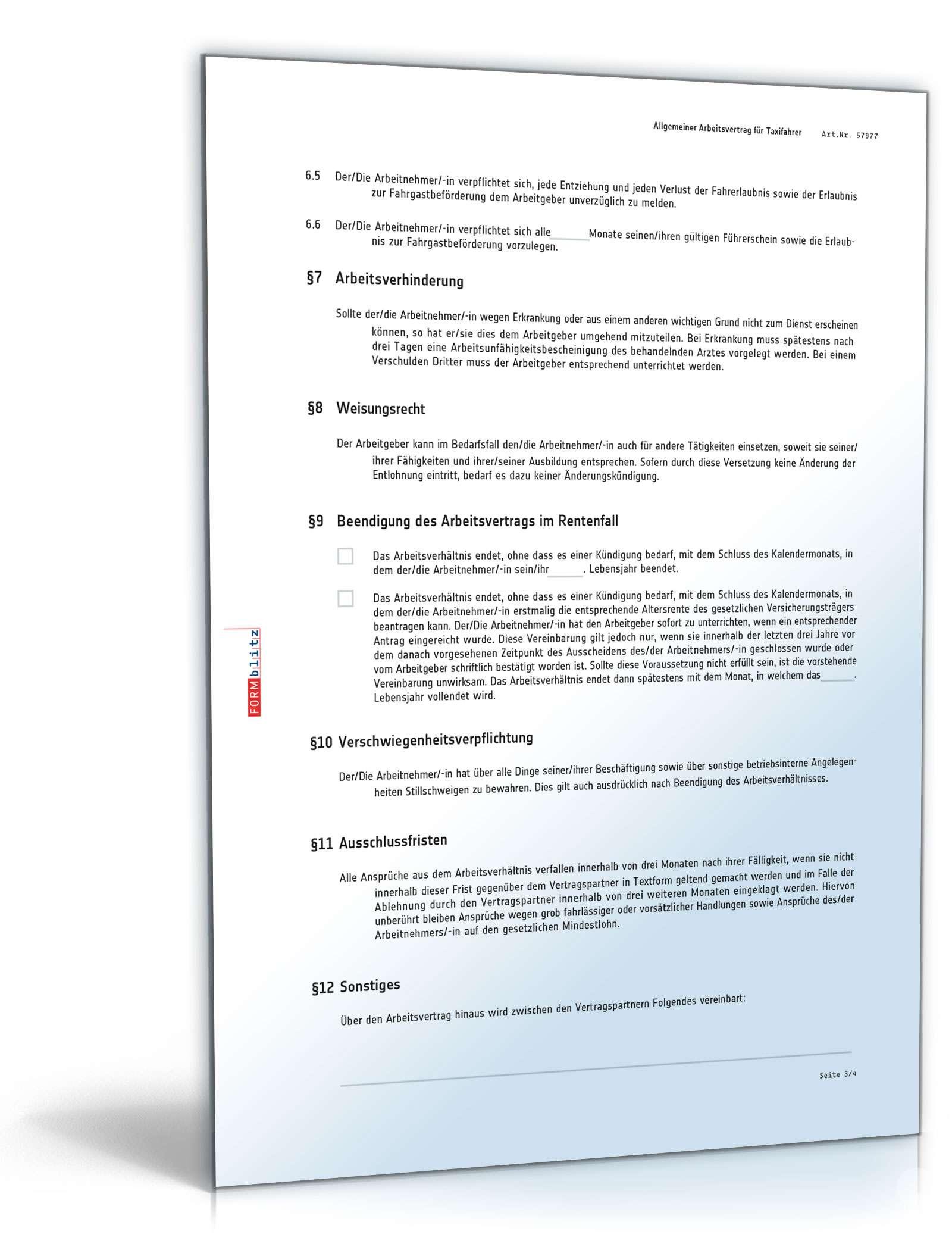 Arbeitsvertrag Für Taxifahrer Muster Als Pdf Und Word