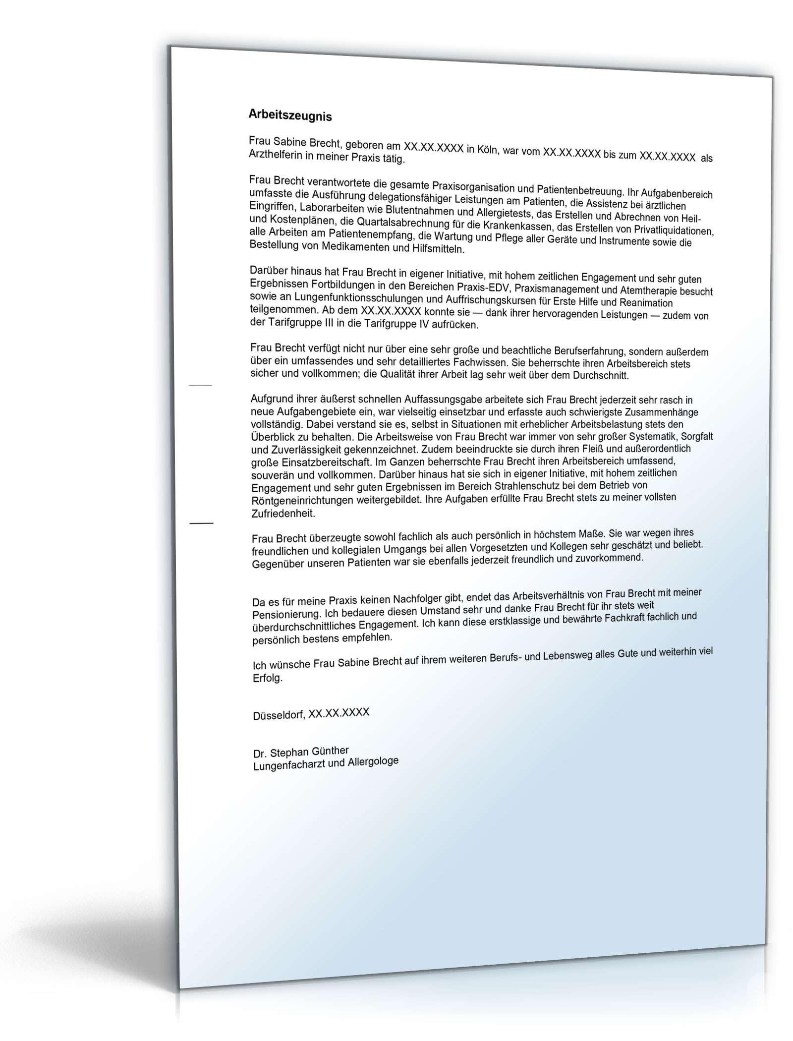 Arbeitszeugnis Arzthelferin Rechtssichere Muster Zum Download