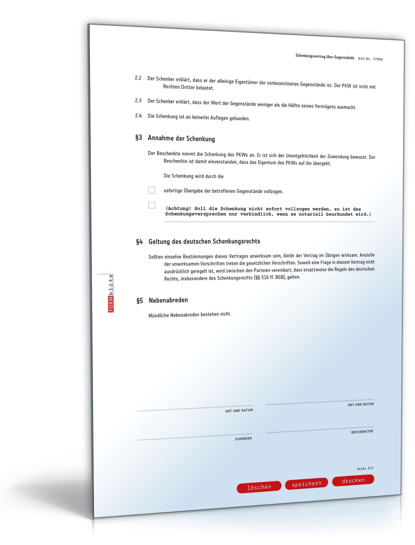 Schenkungsvertrag Auto Muster Als Pdf Doc Zum Download