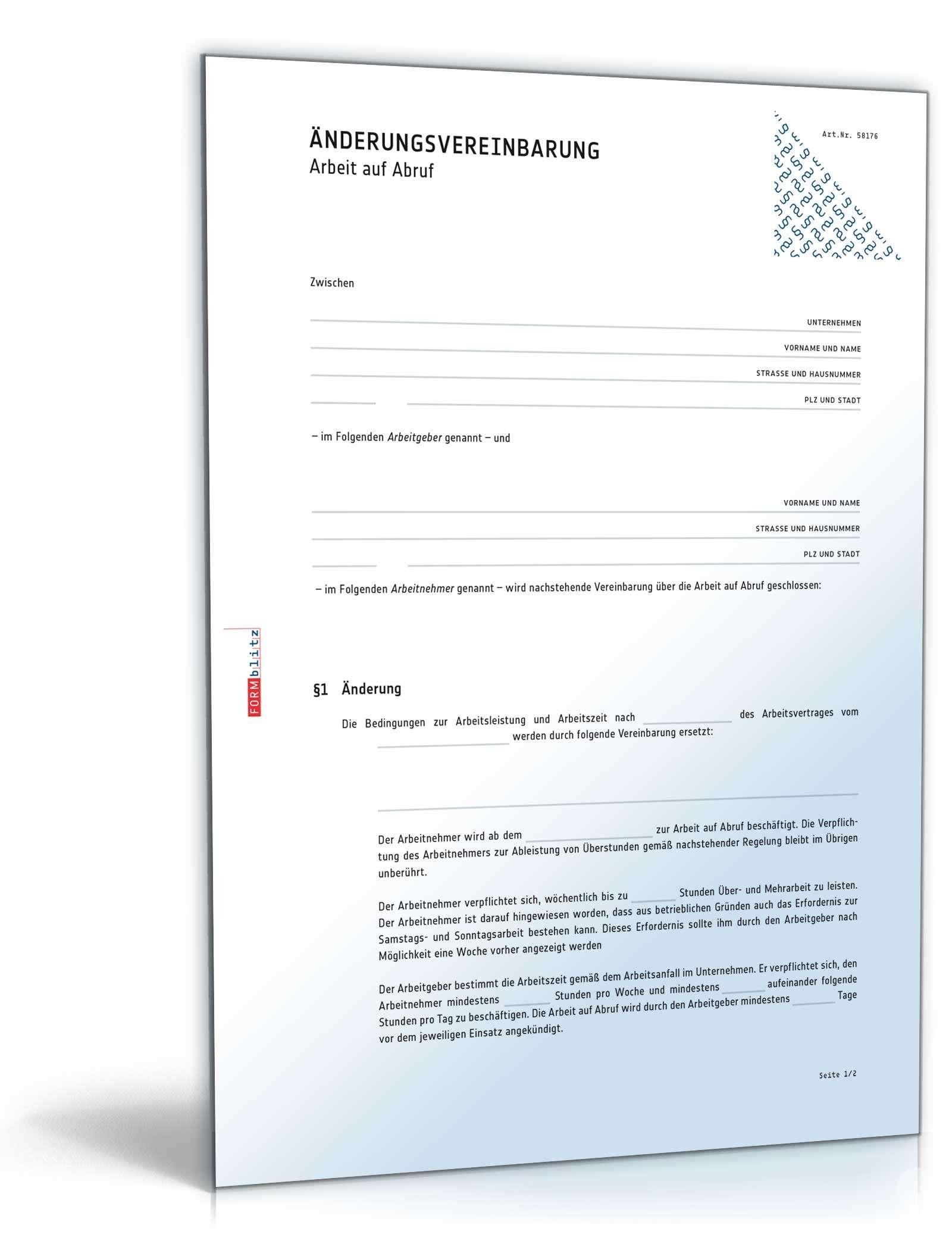 änderungsvereinbarung Arbeit Auf Abruf Muster Zum Download