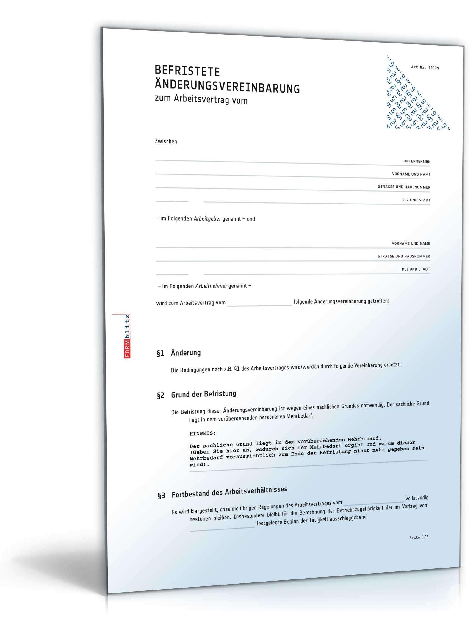 befristete nderungsvereinbarung muster zum download - Anderung Arbeitsvertrag Muster