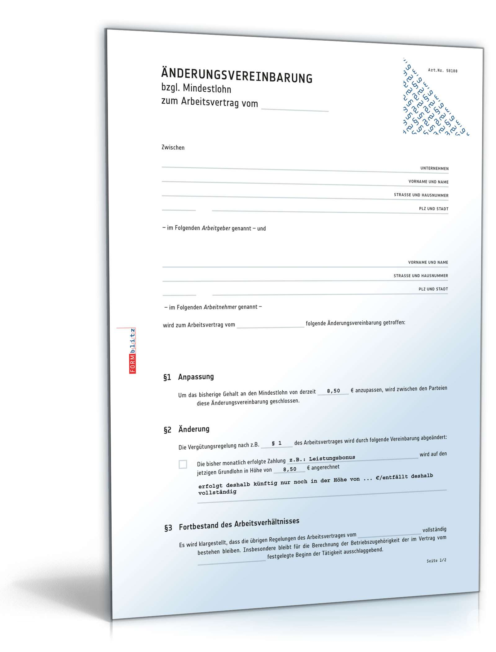 nderungsvereinbarung mindestlohn muster zum download - Anderungsvertrag Muster