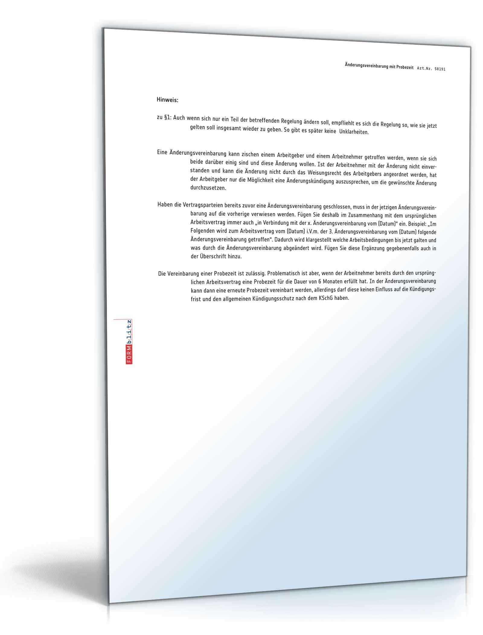 änderungsvereinbarung Mit Probezeit Muster Zum Download