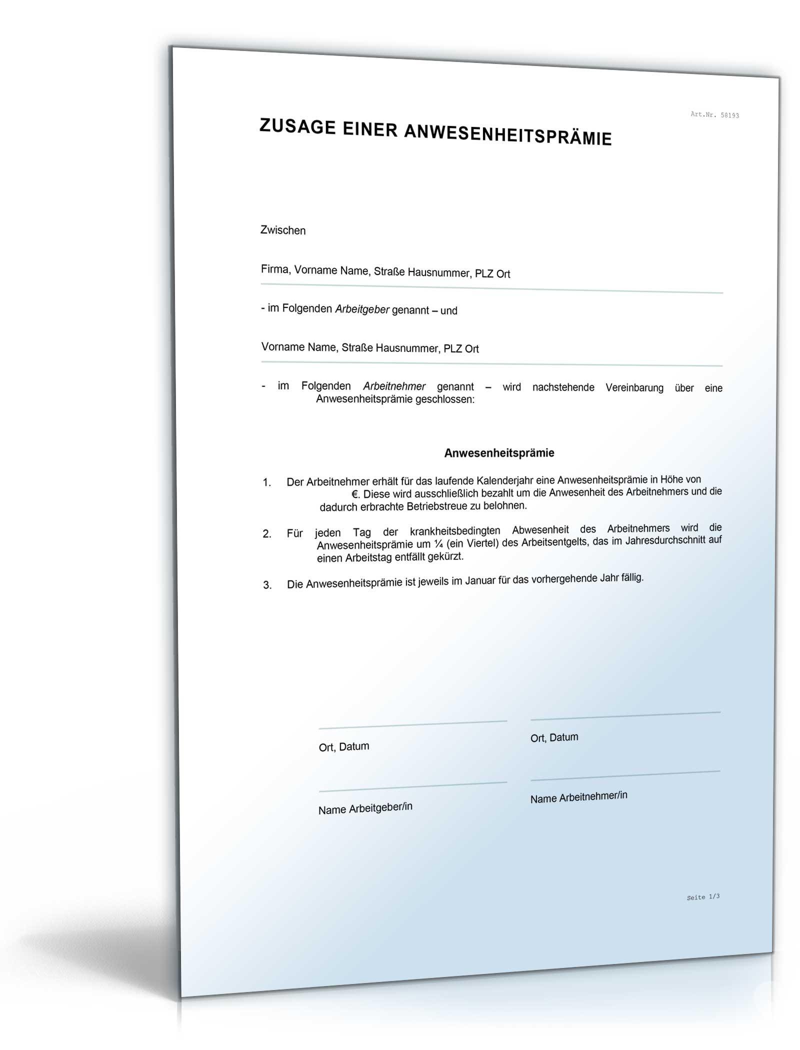 änderungsvereinbarung Anwesenheitsprämie Muster Zum Download