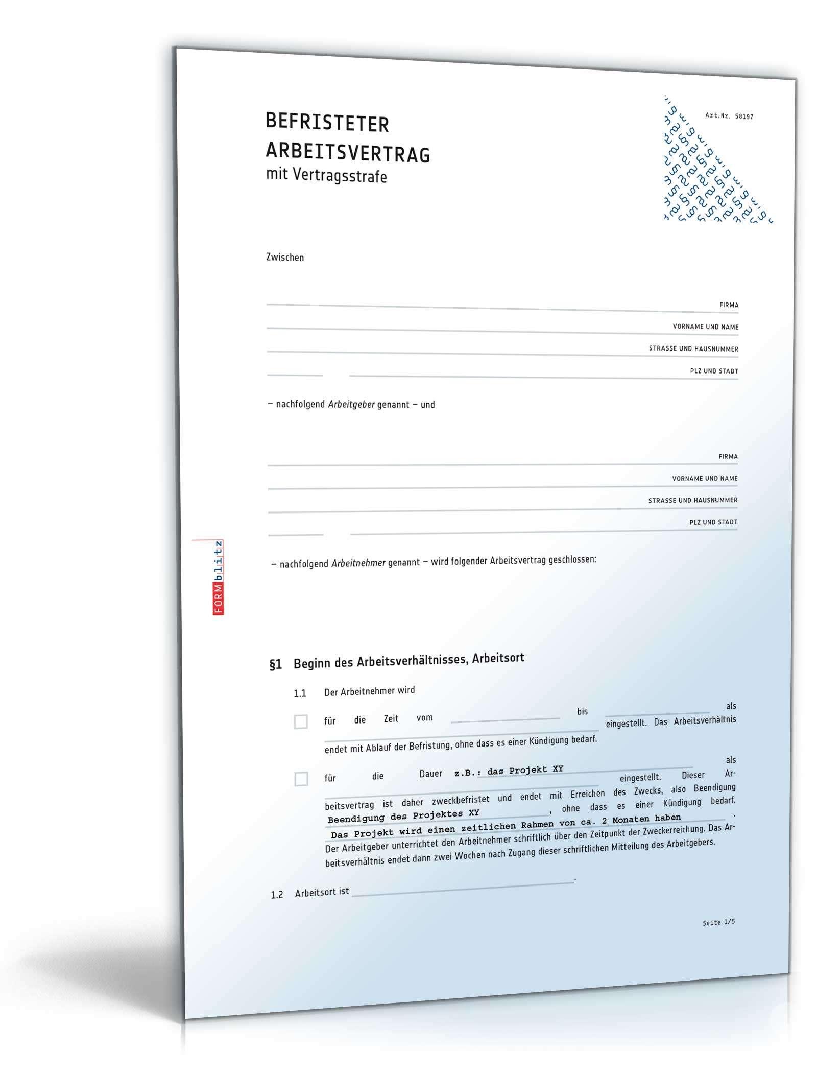 Befristeter Arbeitsvertrag Mit Vertragsstrafe Muster Zum Download