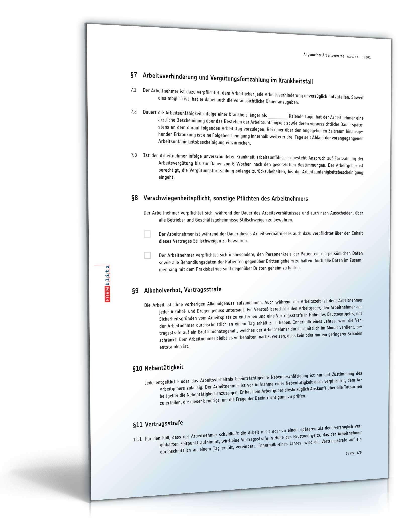 Arbeitsvertrag Mit Vertragsstrafe Muster Zum Download