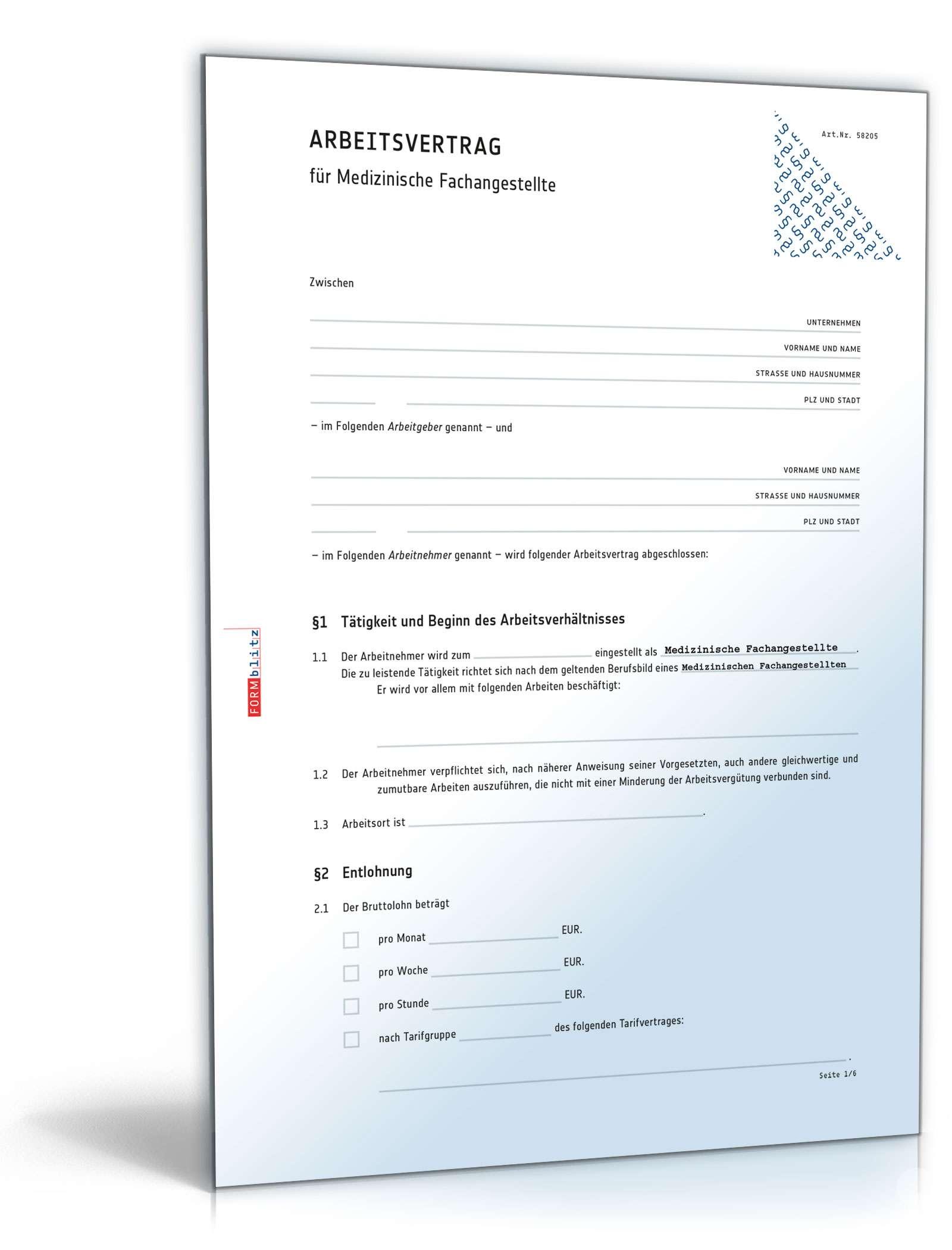 Arbeitsvertrag Medizinische Fachangestellte Muster Zum Download