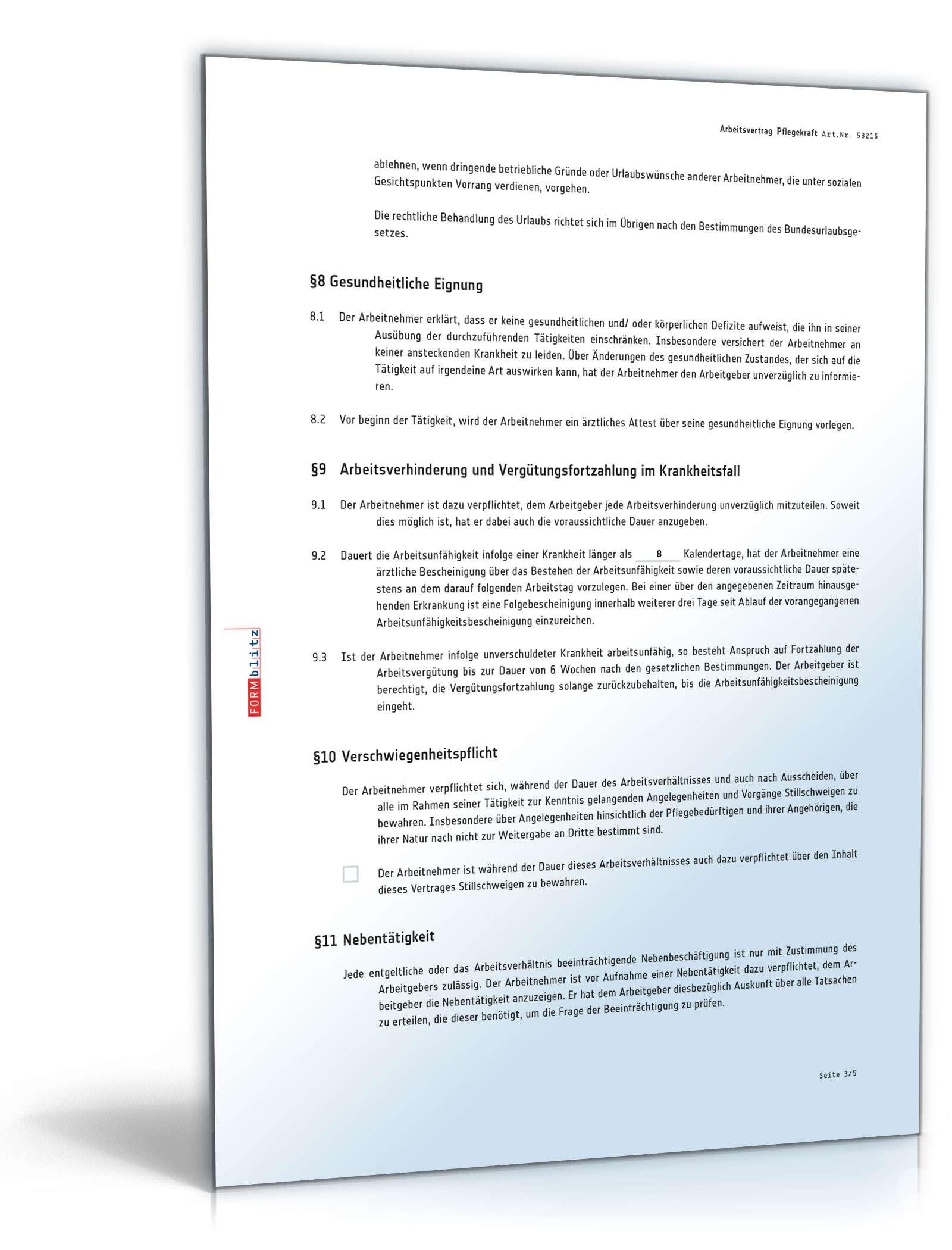 Arbeitsvertrag Für Pflegekraft Muster Zum Download