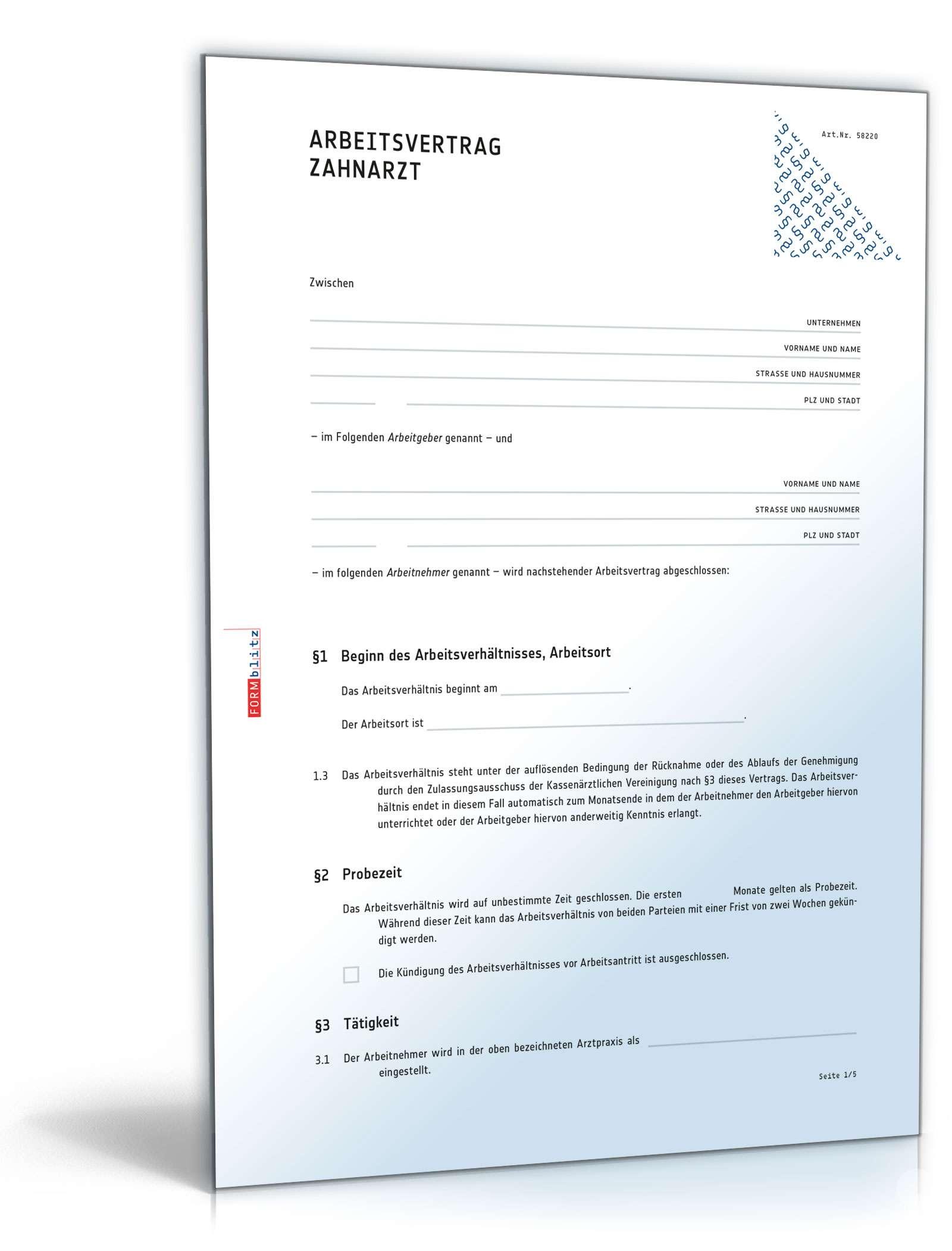 Arbeitsvertrag Für Zahnärzte Muster Zum Download