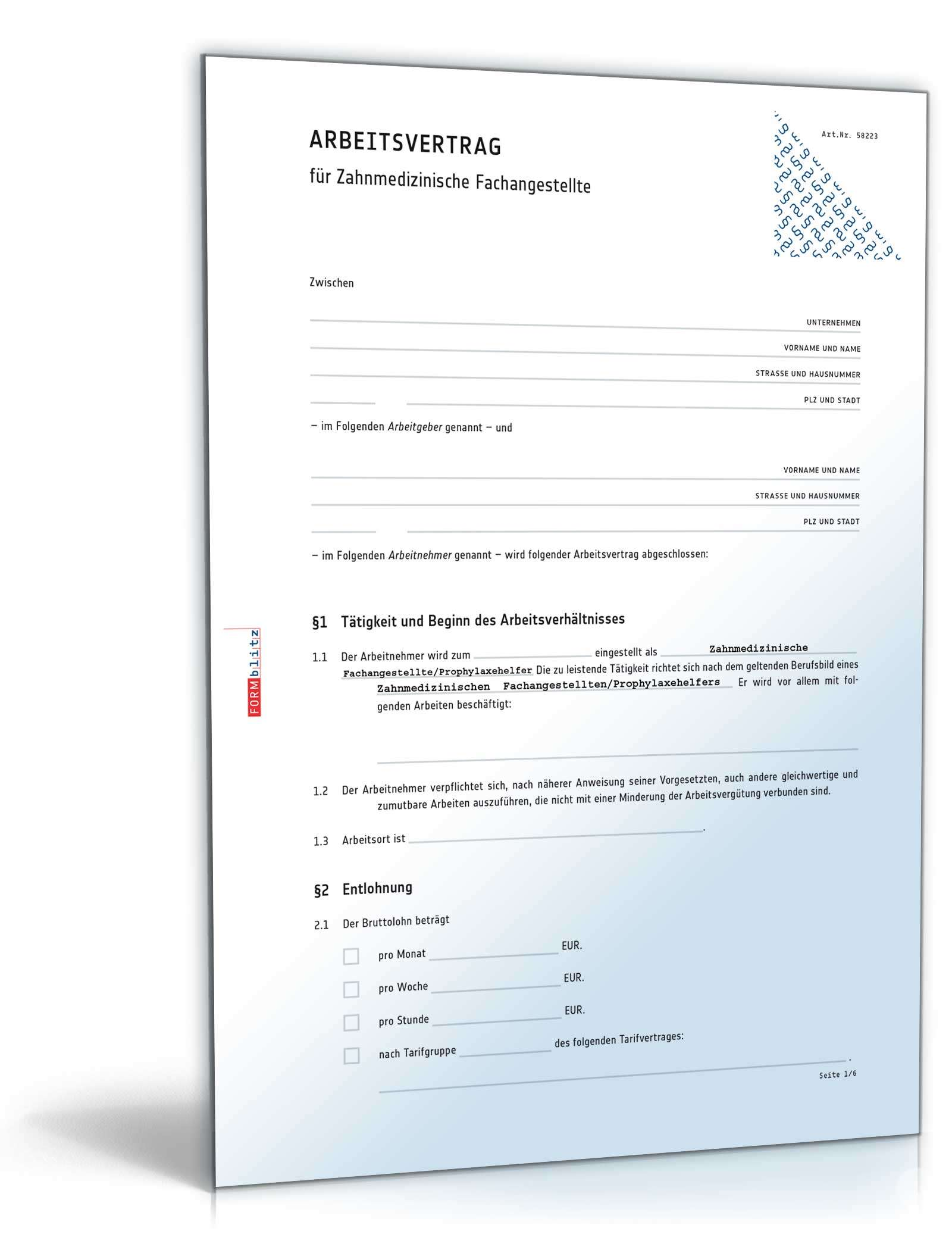 Arbeitsvertrag Für Zahnarzthelferin Muster Zum Download