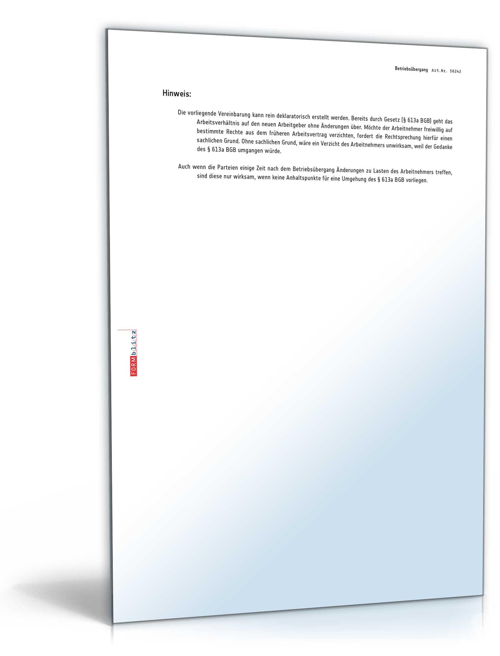 Vereinbarung Betriebsübergang Muster Zum Download