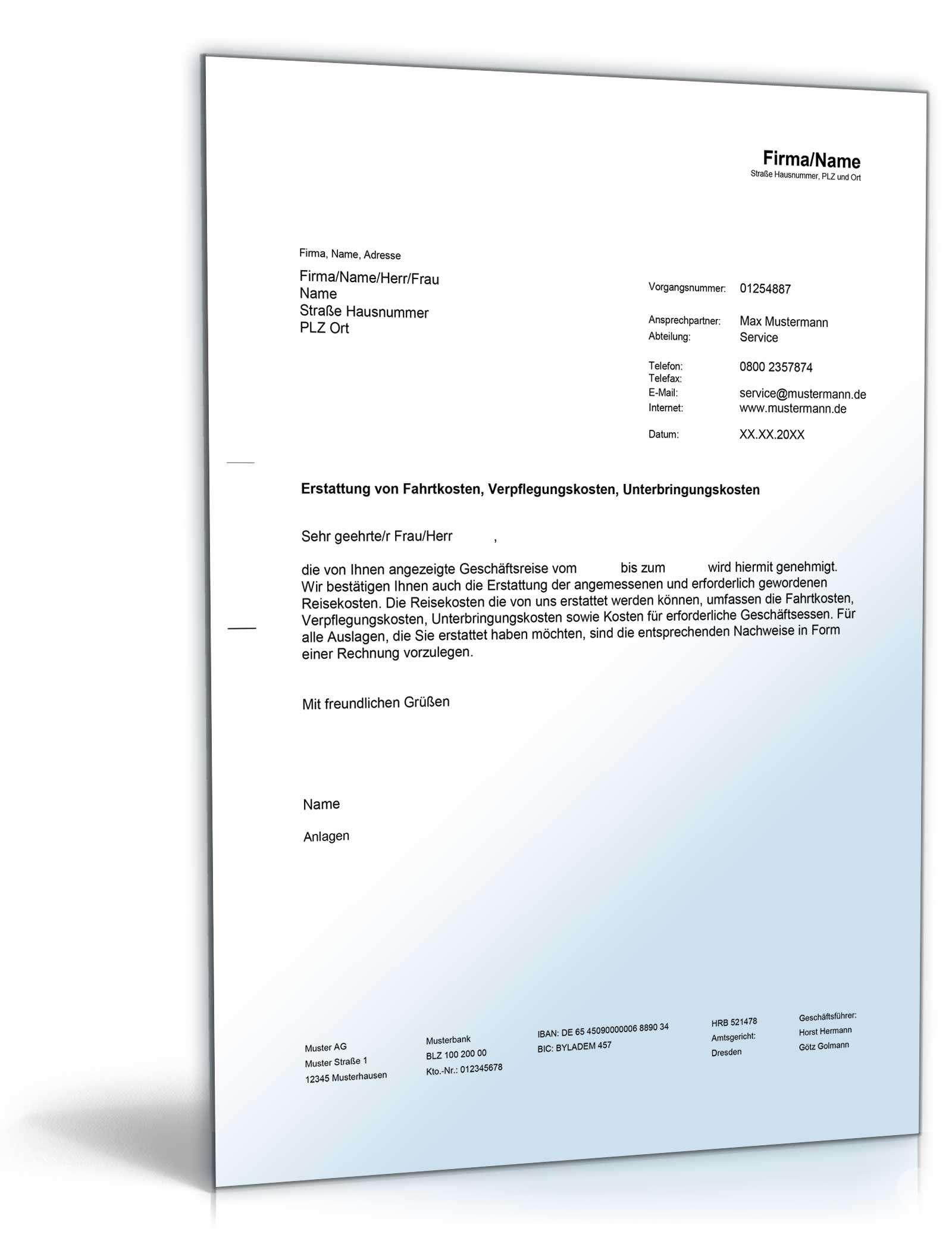 erstattung reisekosten doc - Muster Reisekostenabrechnung