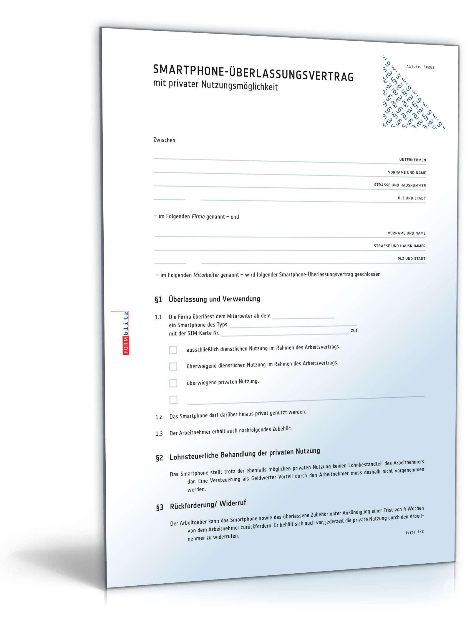 Smartphone überlassungsvertrag Muster Zum Download