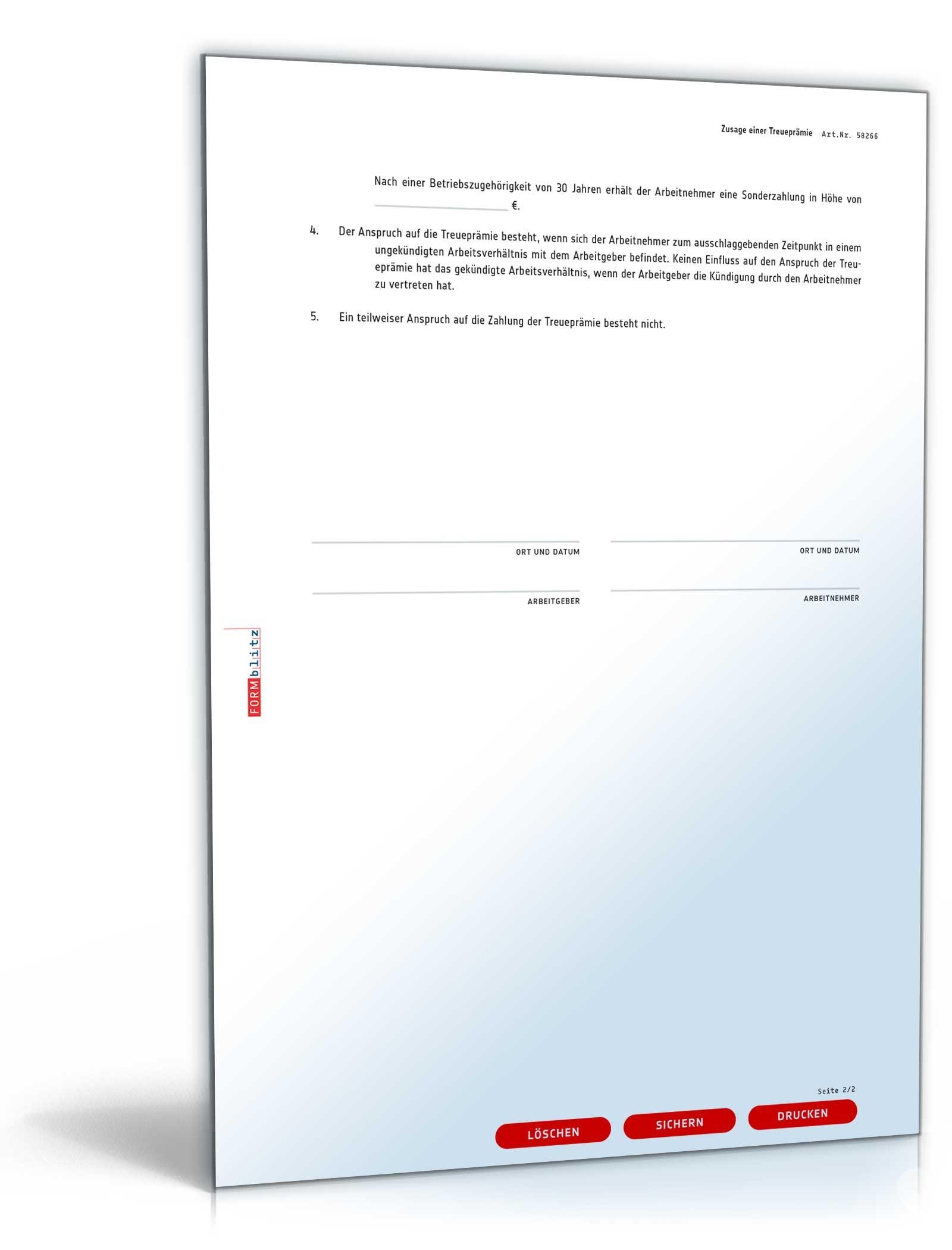 Zusage Einer Treueprämie Muster Vorlage Zum Download