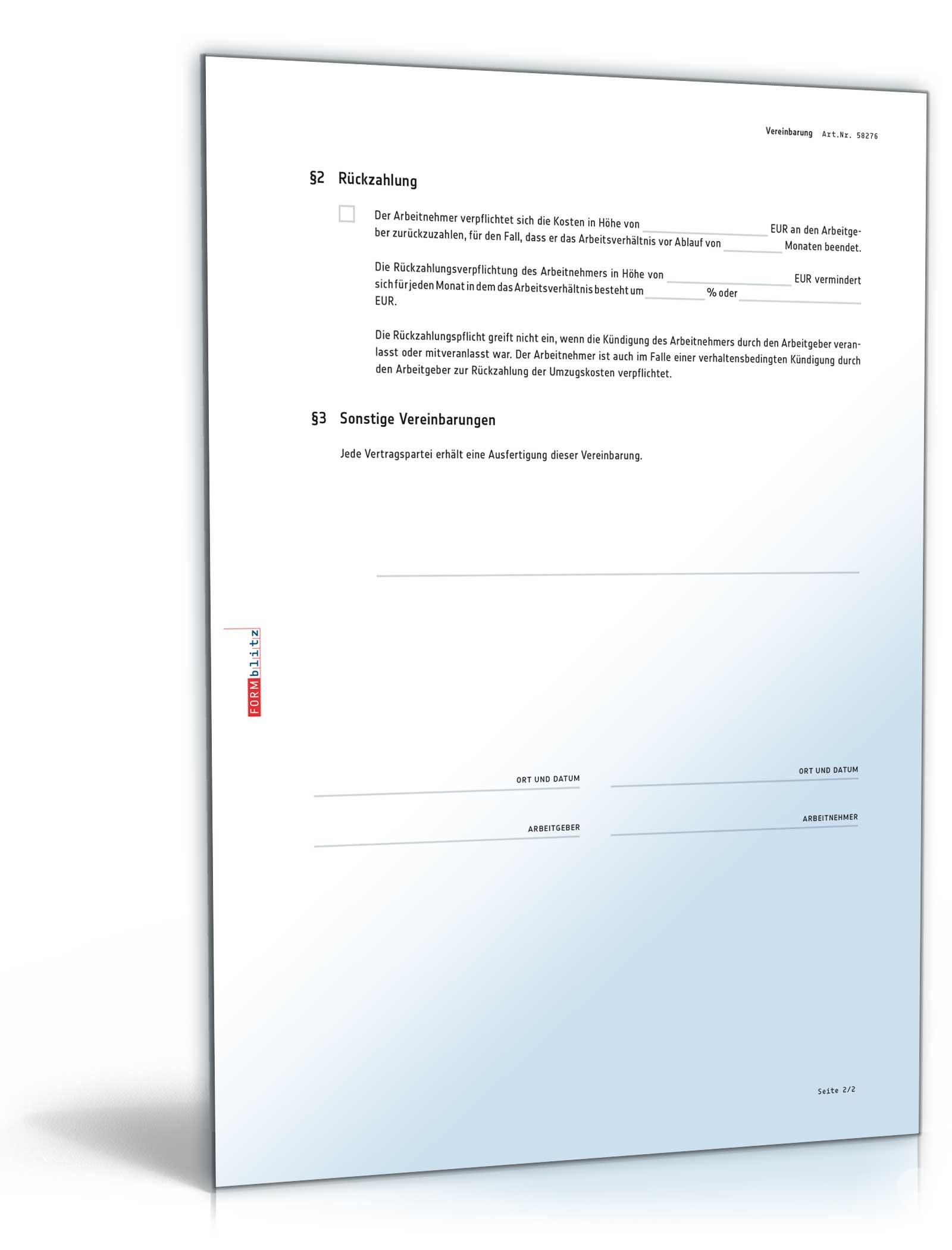 Vereinbarung über Die übernahme Von Umzugskosten Muster Zum Download